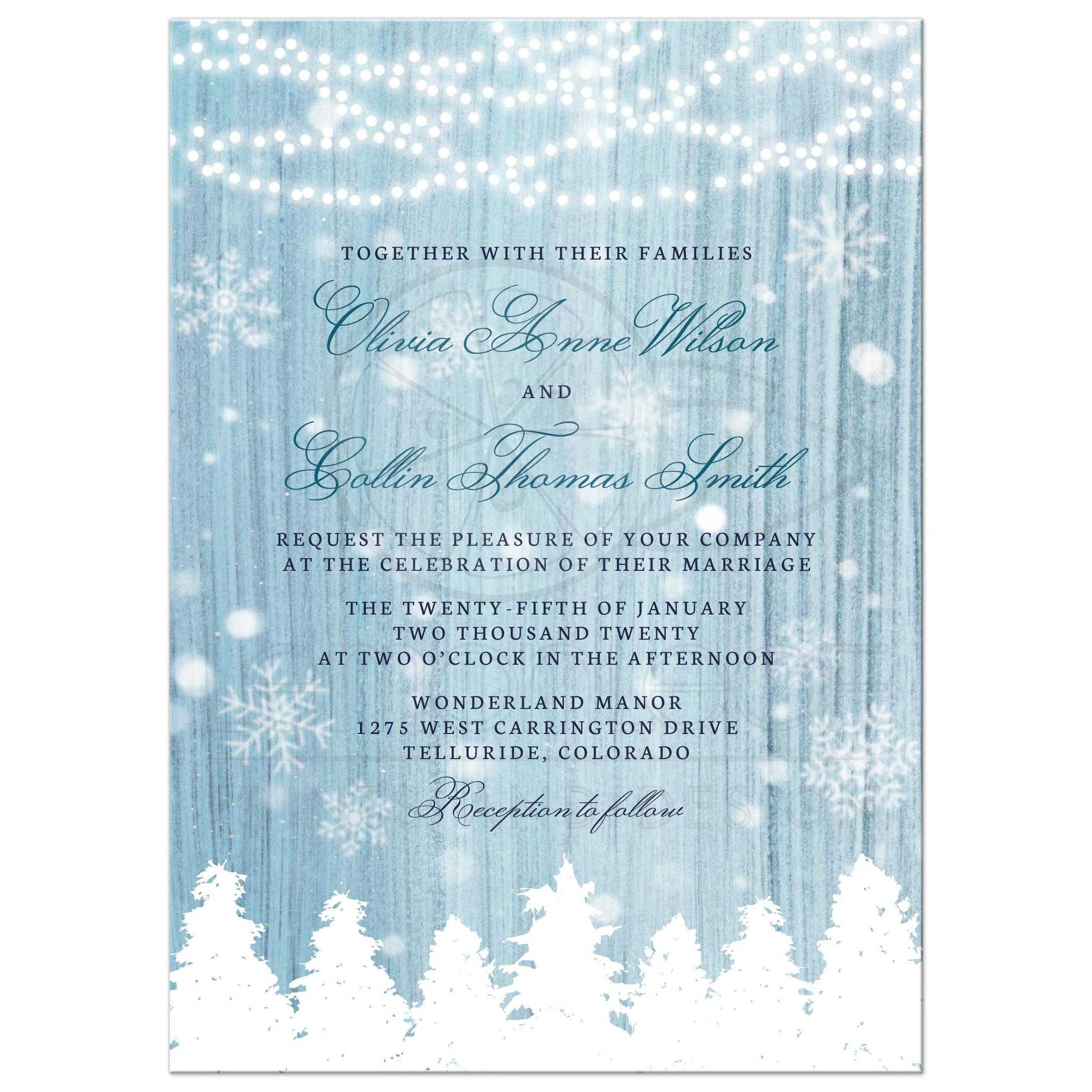 Winter Wonderland Wedding Invitations Front ...