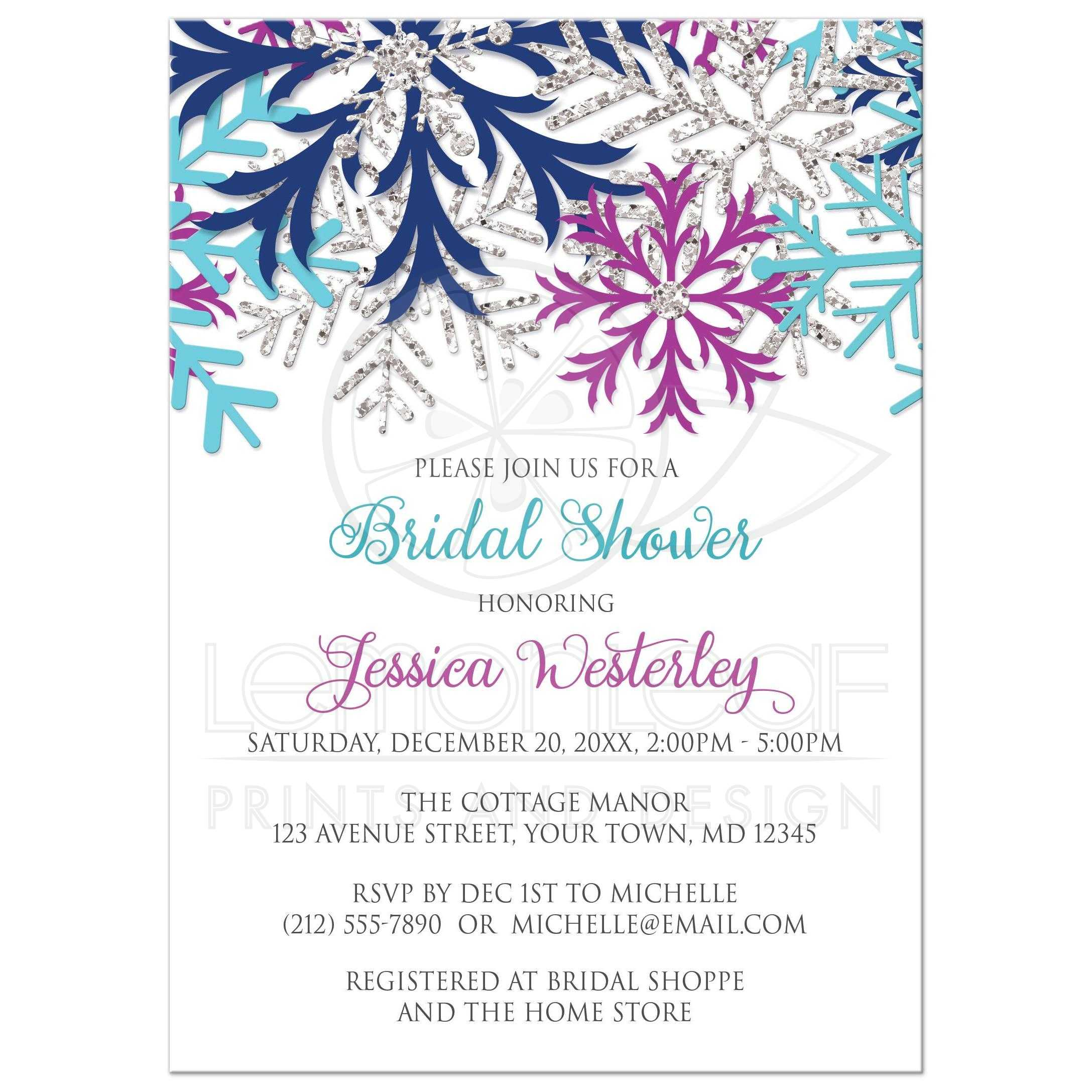 Bridal Shower Invitations - Turquoise Navy Orchid Silver Snowflake
