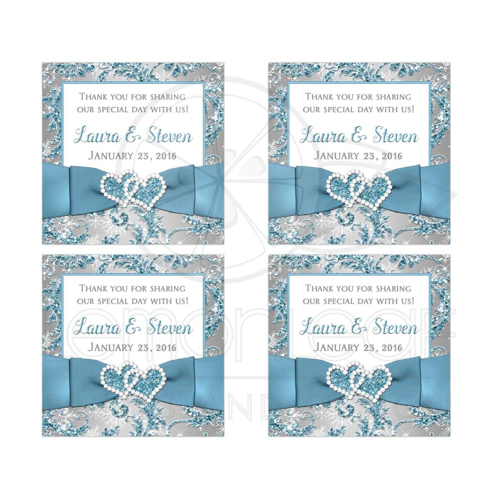 Wedding Favor Sticker | Winter Wonderland | Ice Blue, Silver, White ...