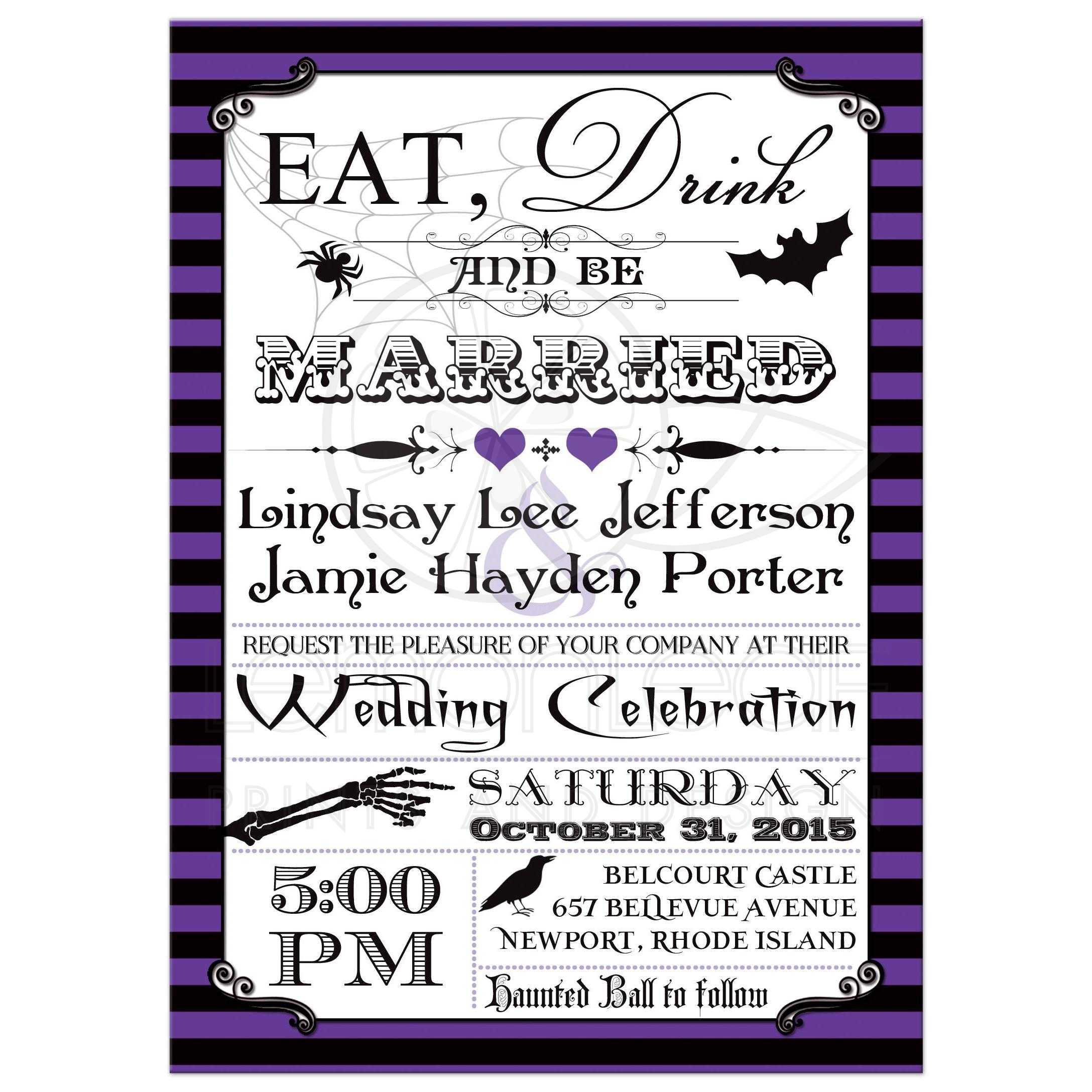Best Halloween Wedding Invitation With Purple And Black Stripes