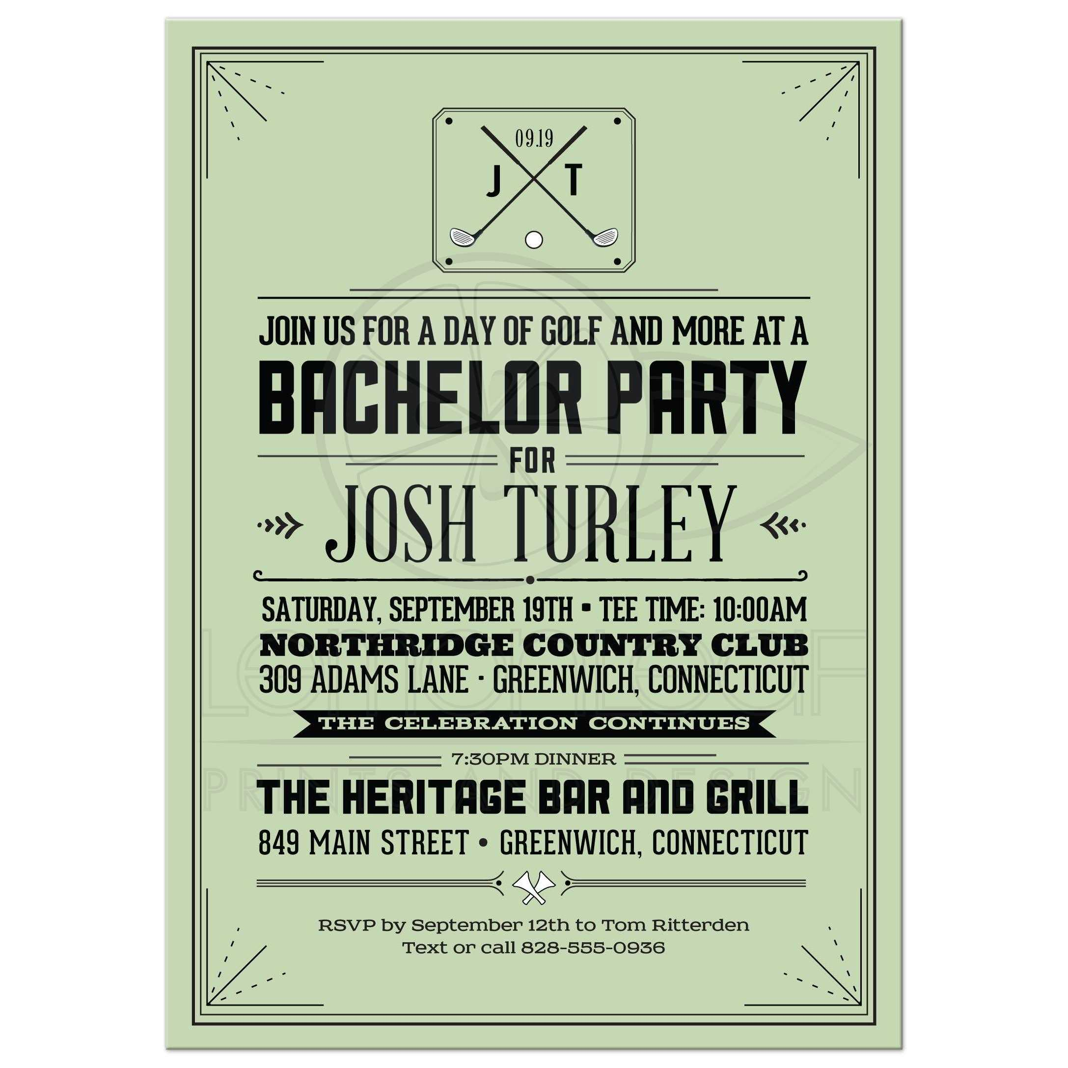 Party invitation retro hipster golf bachelor party invitation retro hipster golf monicamarmolfo Choice Image
