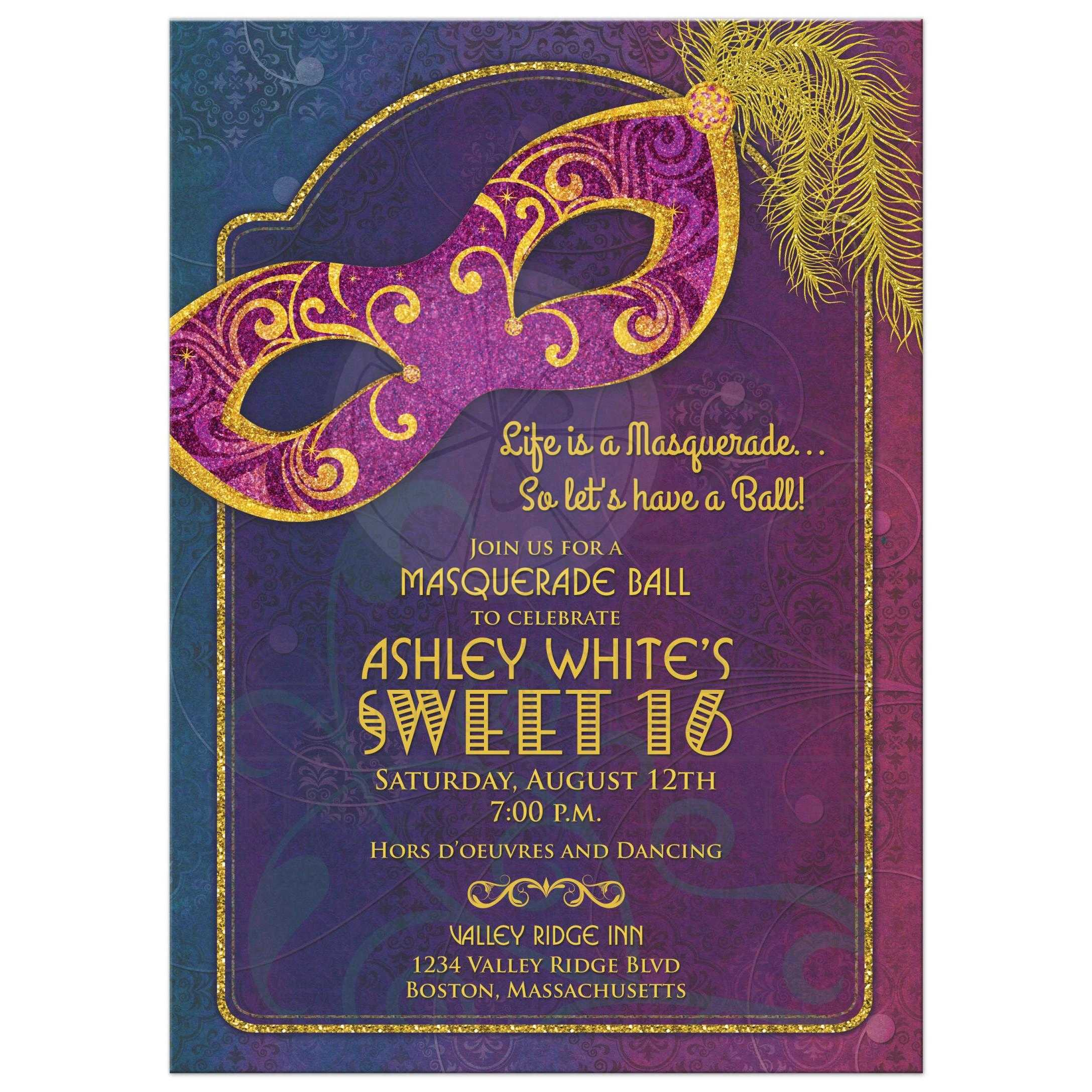 Masquerade Ball Sweet 16 Invitation | Jewel Tones and Gold Mask