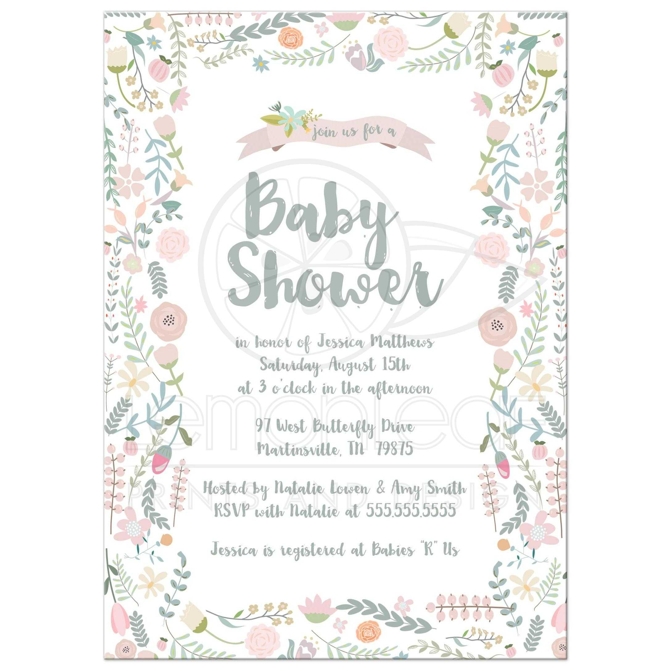 Baby Shower Invitation - Sweet Watercolor Floral Frame