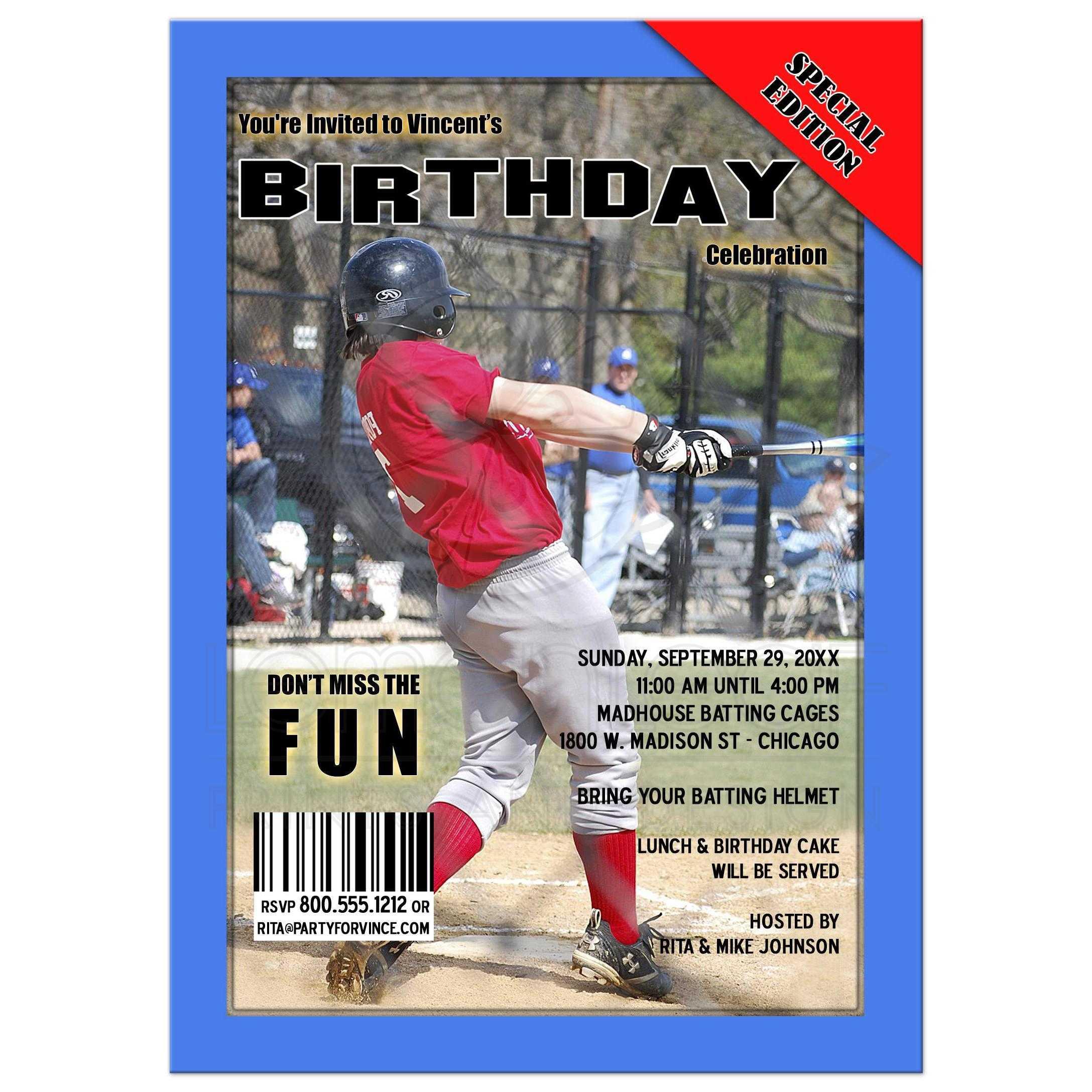 Blue Sports Magazine Cover Style Birthday Party Photo Invitation