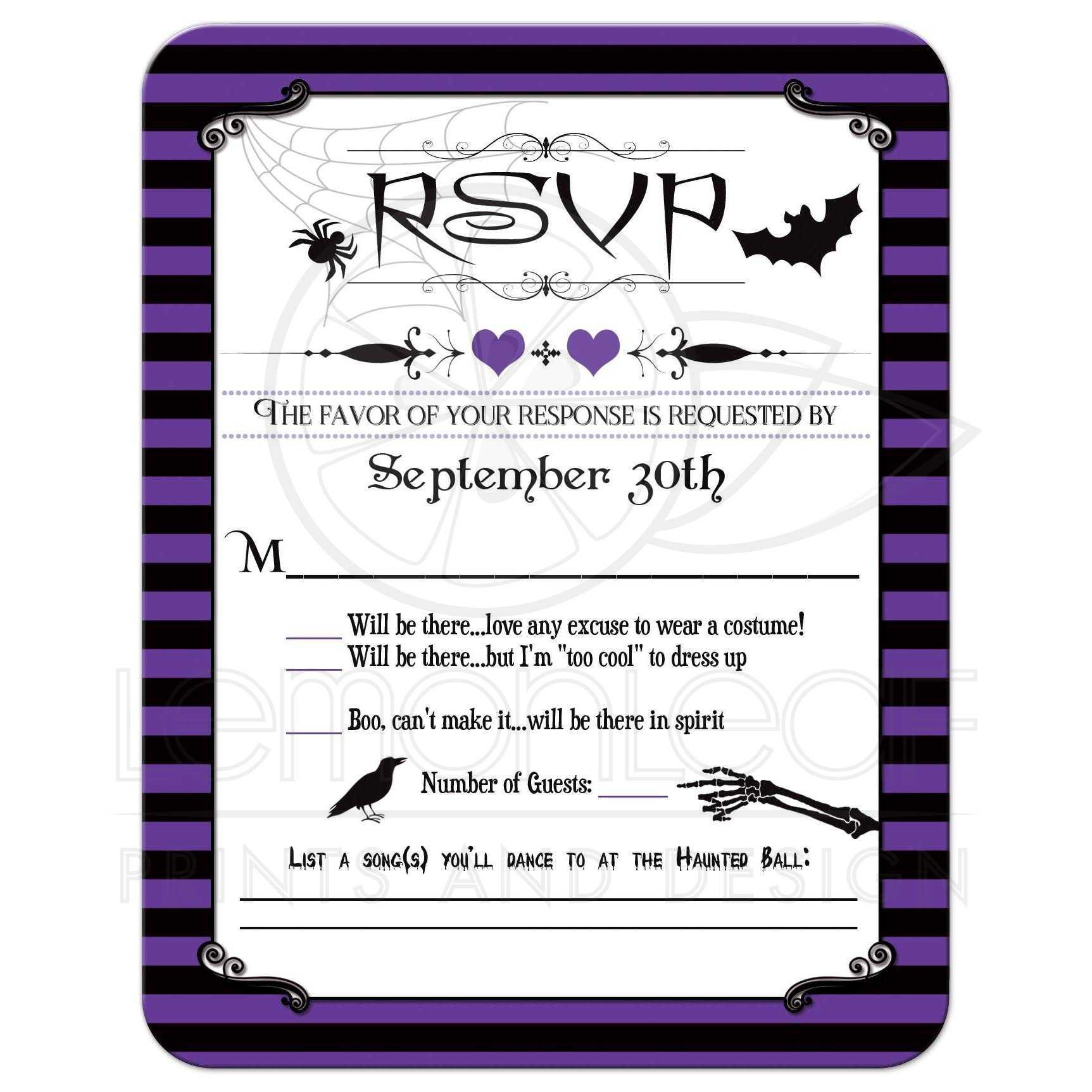 halloween wedding rsvp card | purple, black stripes | spider web