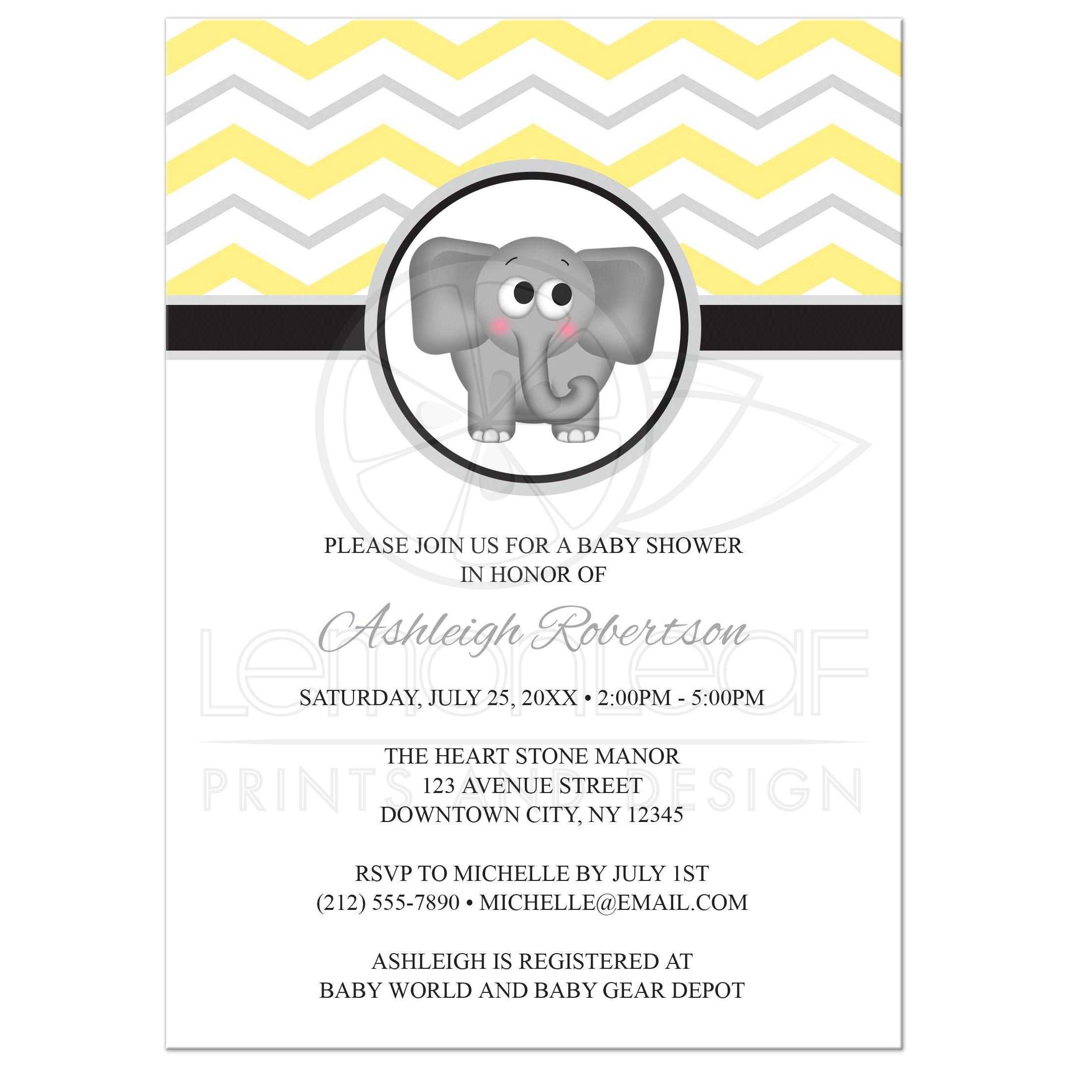 Gray And Yellow Baby Shower Invitations Part - 32: Baby Shower Invitations - Elephant Yellow Gray Chevron