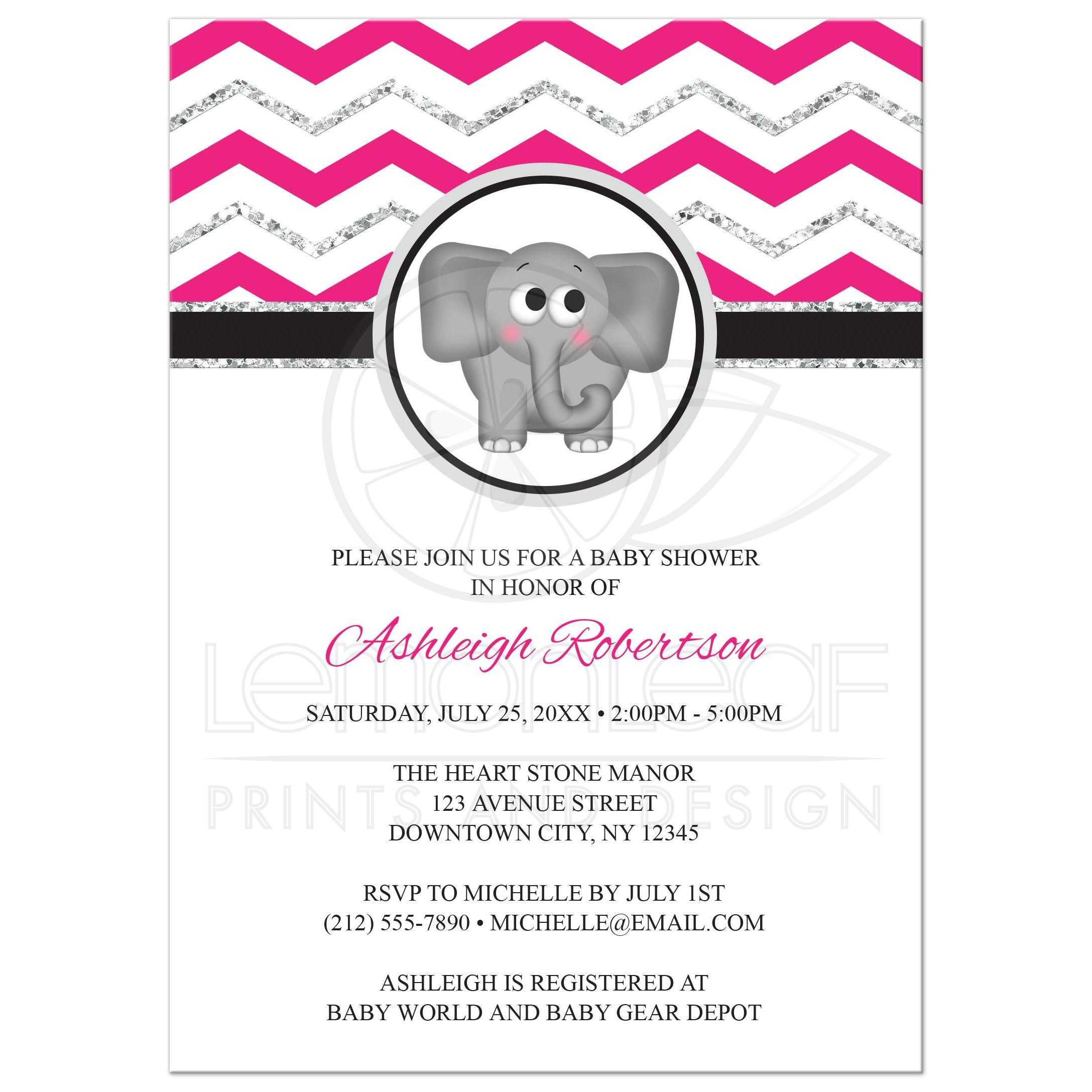 Baby Shower Invitations Elephant Hot Pink Silver Glitter Chevron