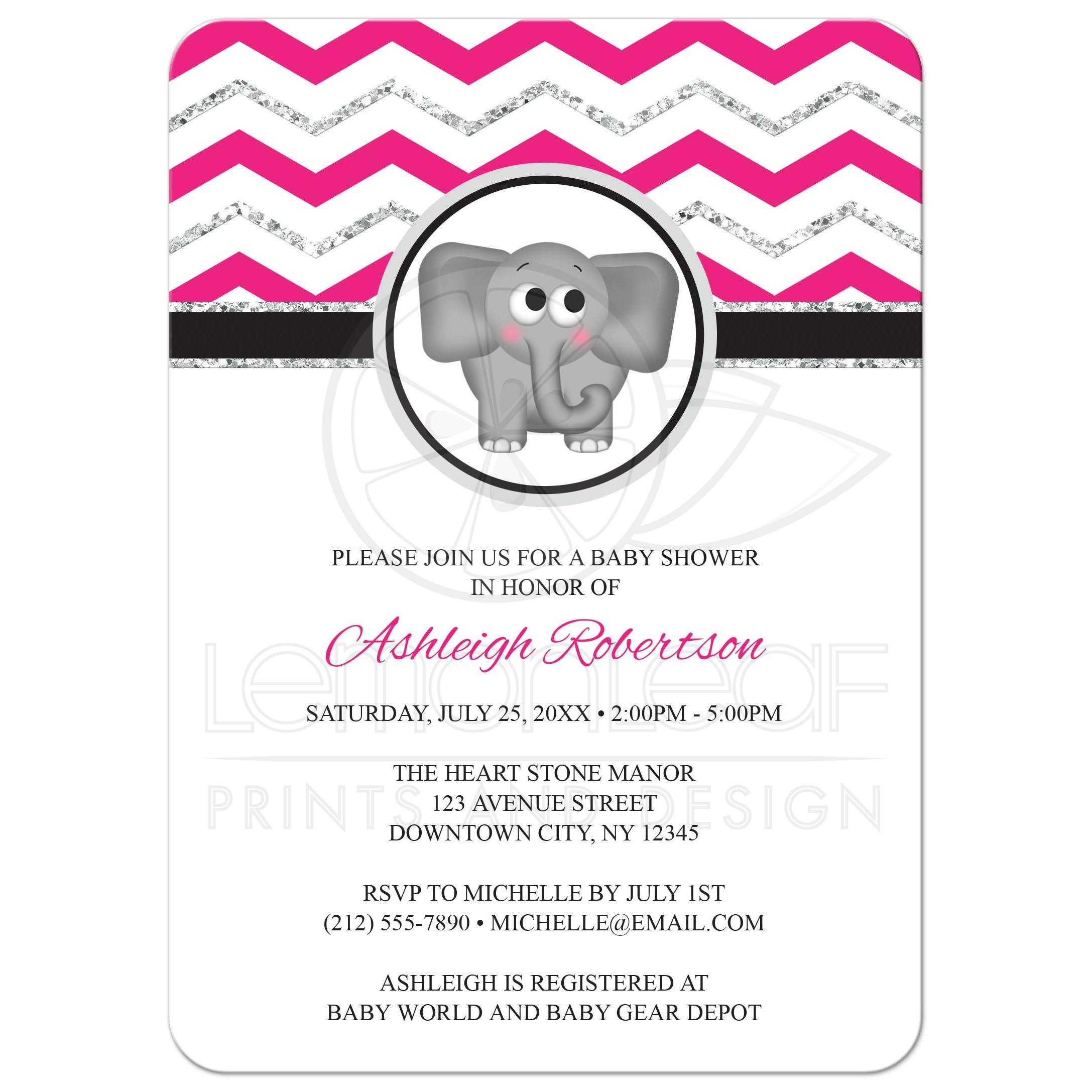 Baby shower invitations elephant hot pink silver glitter chevron filmwisefo
