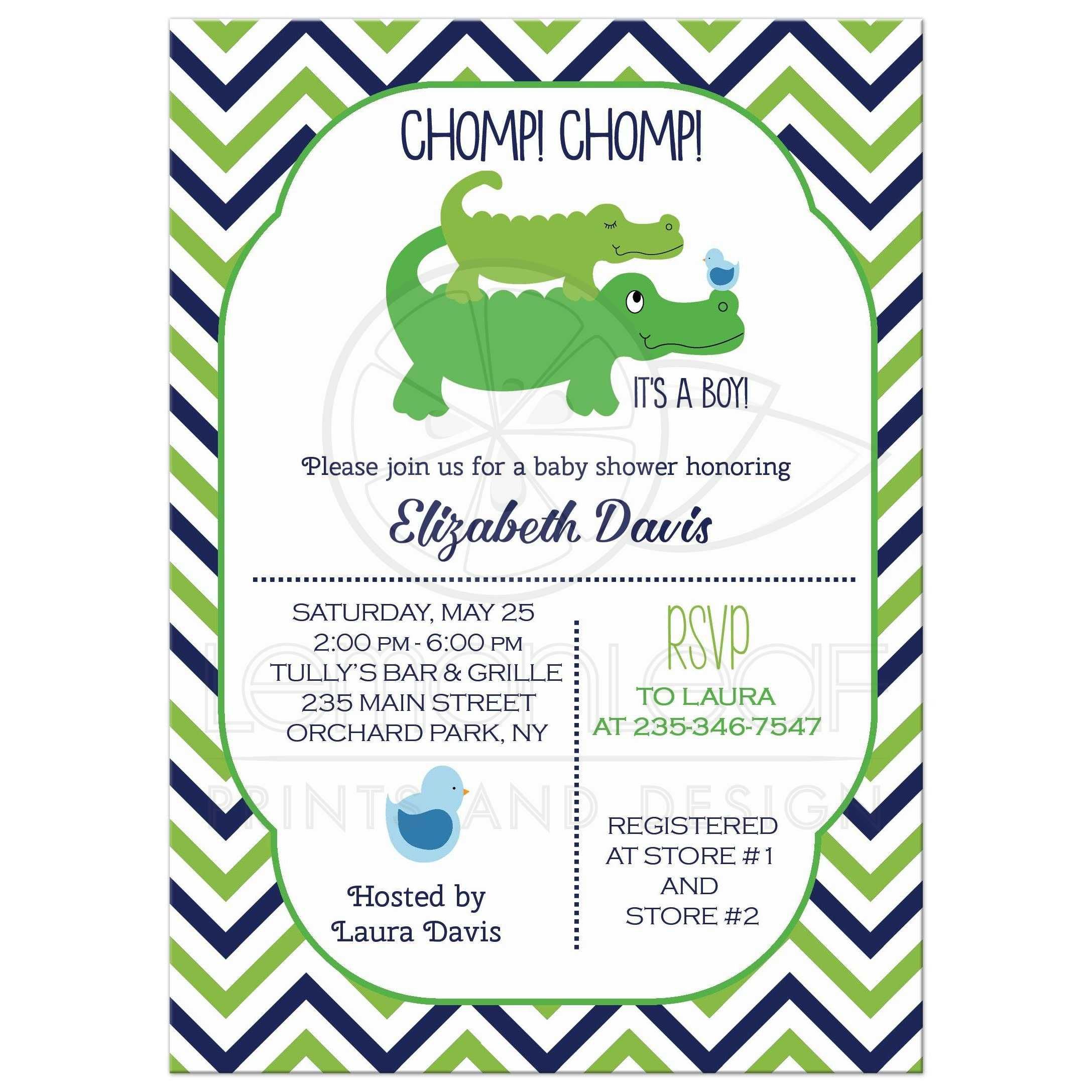 Preppy Alligator Baby Shower Invitation White Green Navy Blue Chevron Stripe