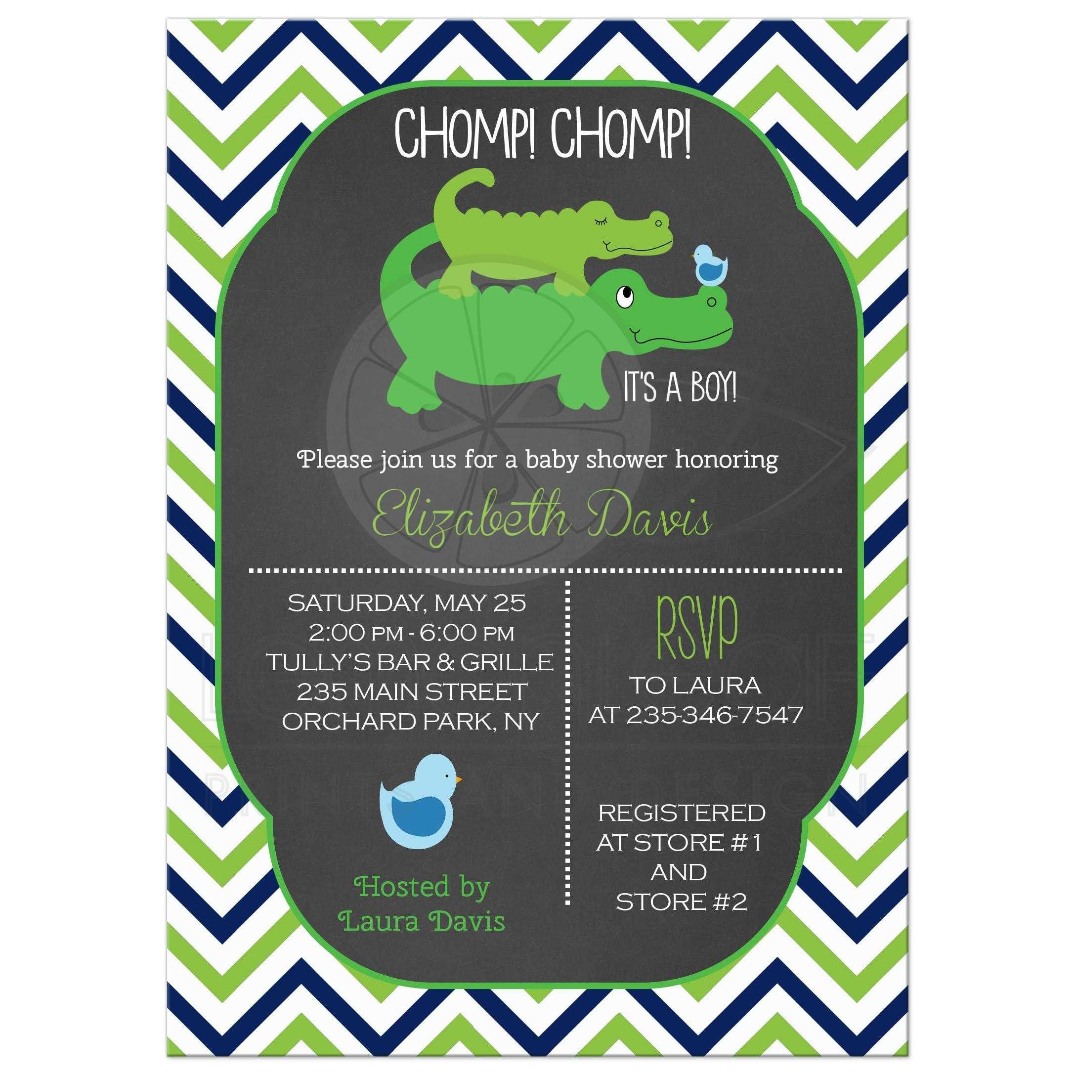 Cute Preppy Alligator Chevron Baby Shower Invitations - Chalkboard
