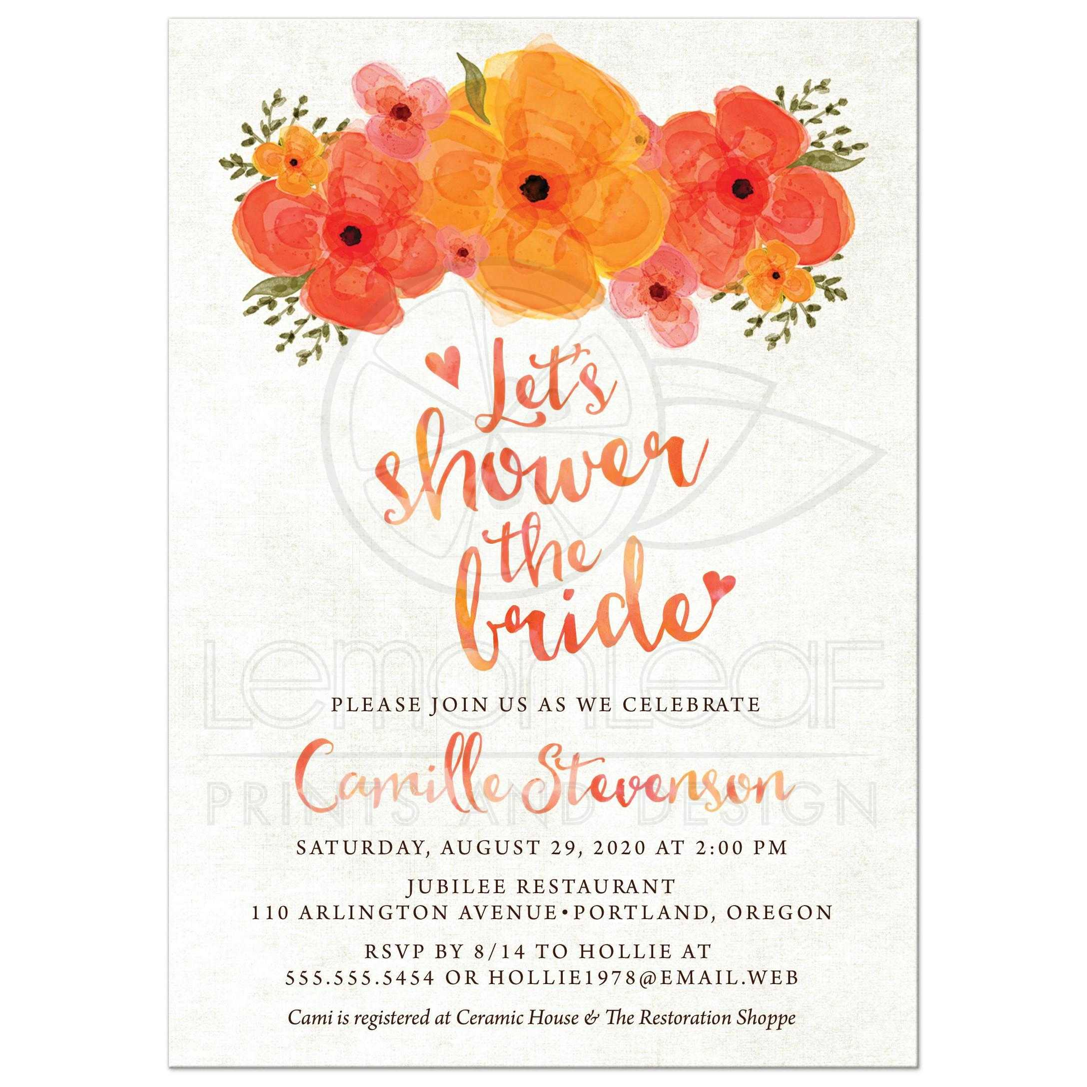 Bridal shower invitations watercolor summer garden florals watercolor summer garden florals bridal shower invitations front filmwisefo