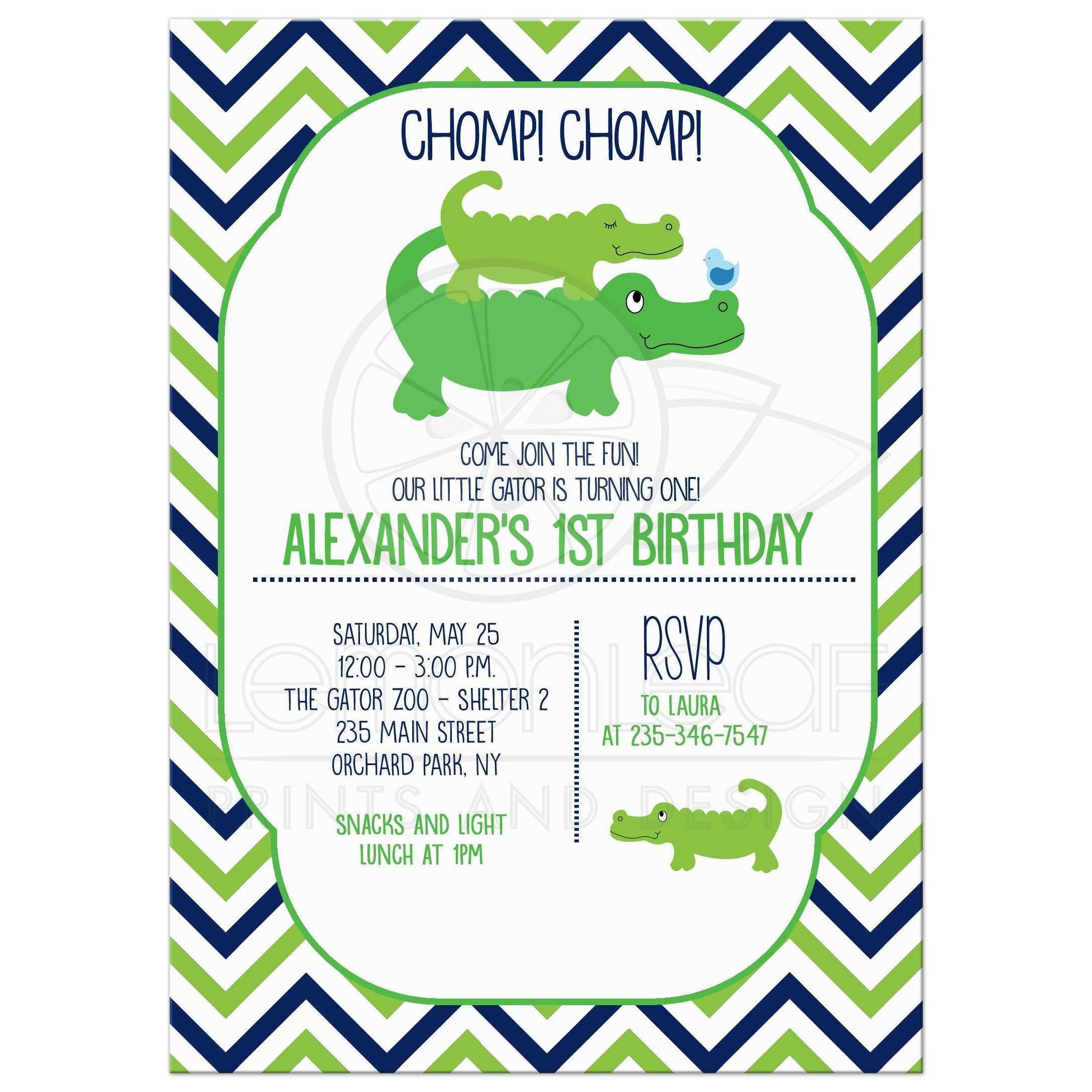 Cute preppy alligator boys birthday invitation cute preppy alligator boy birthday invitation any age filmwisefo