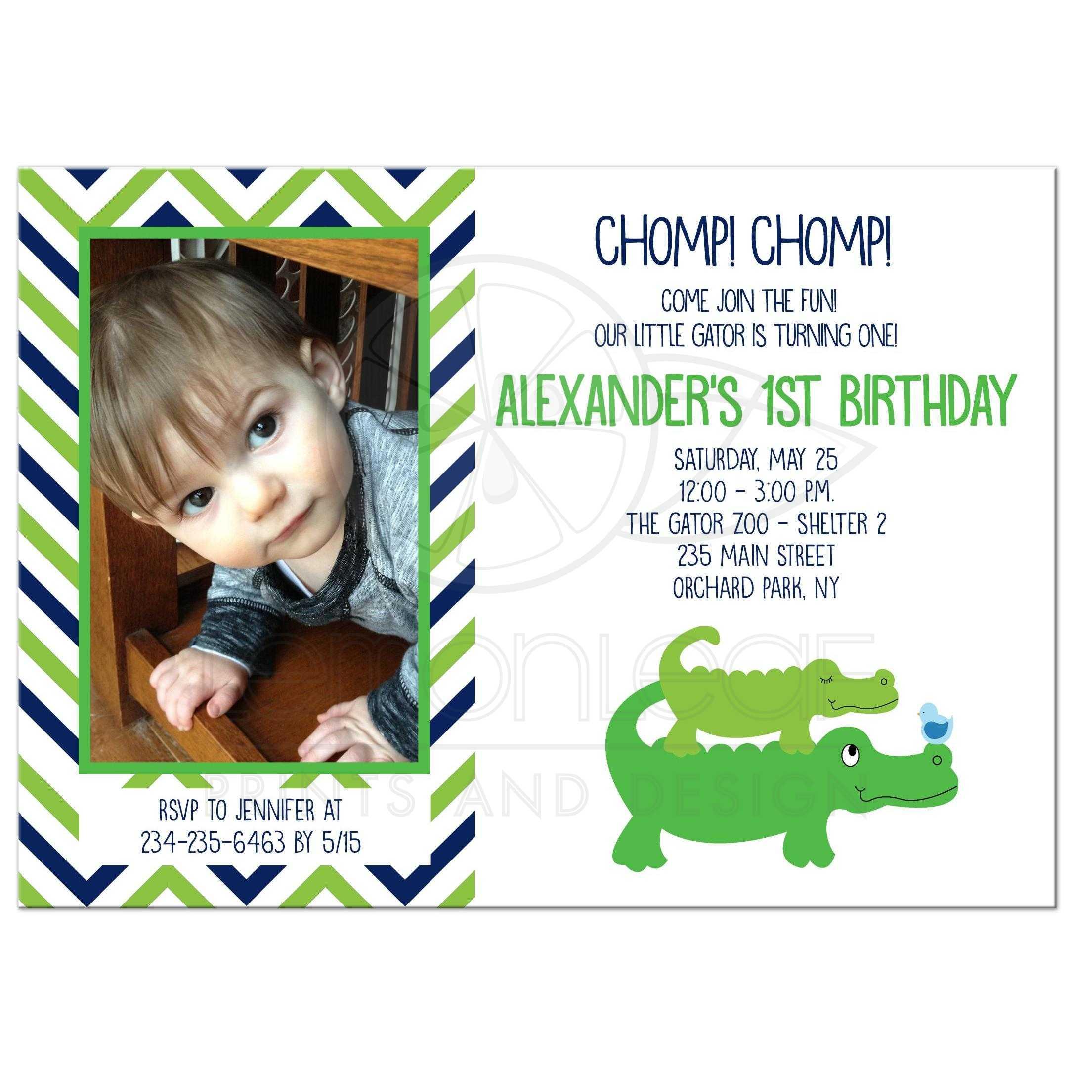 Cute Preppy Alligator Boys Photo Birthday Invitation