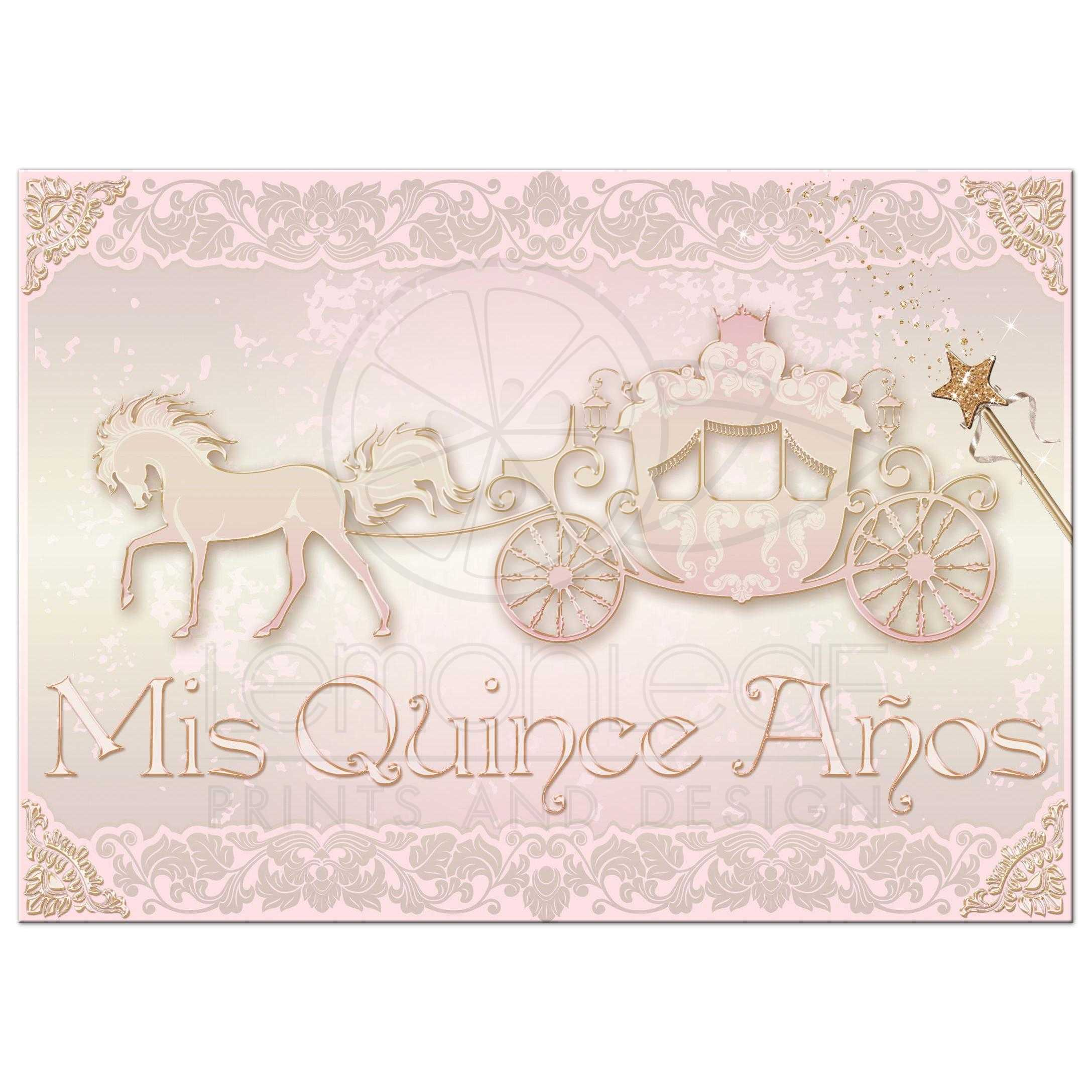 photo quinceañera invite blush pink gold princess carriage with horse