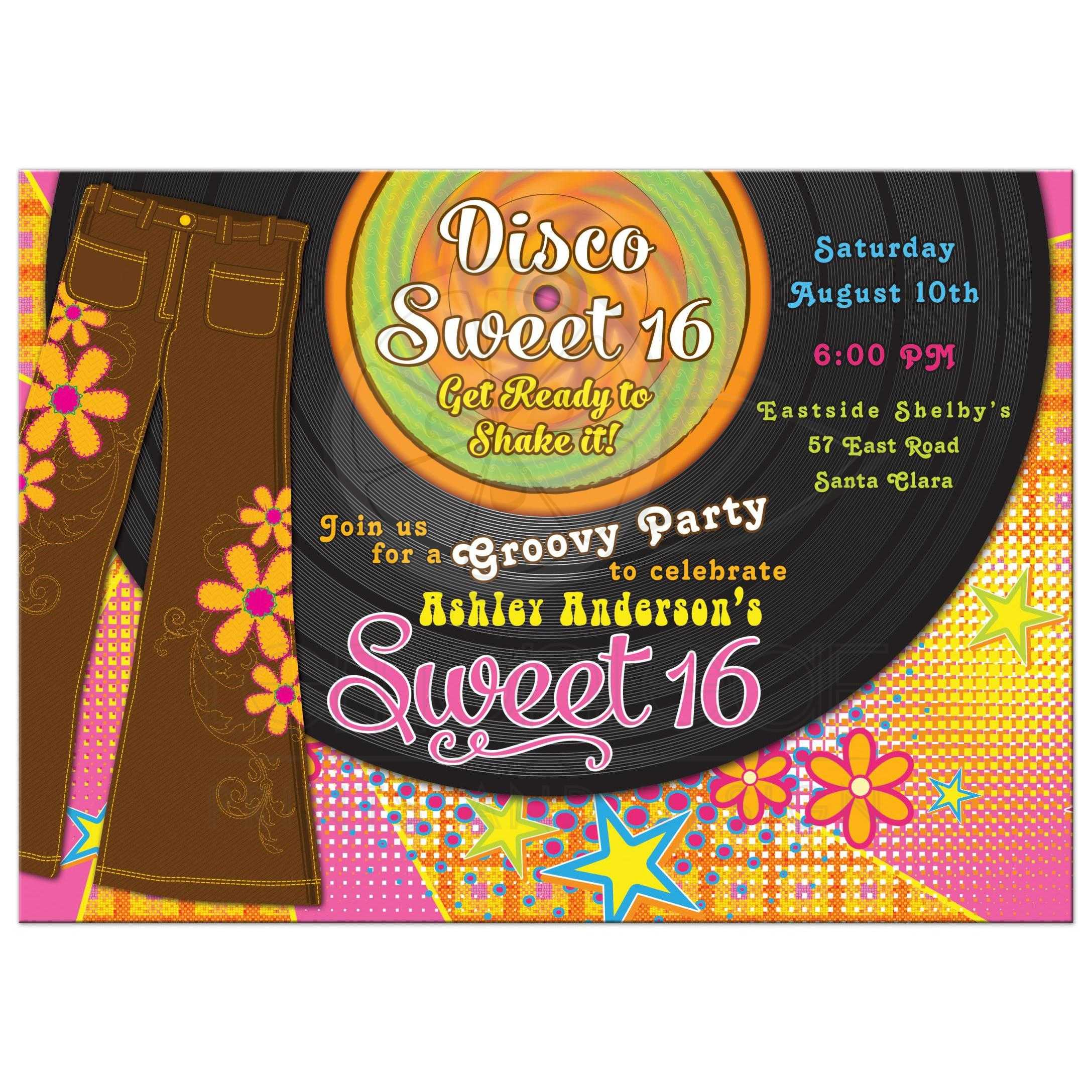 1970s Disco Sweet 16 Invitation | Bellbottoms Record Album