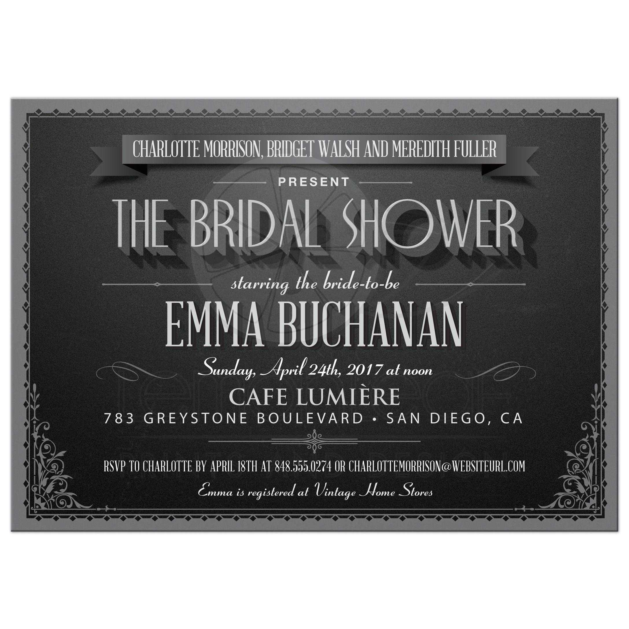 Wedding Shower Invitation - Vintage Movie Title Screen