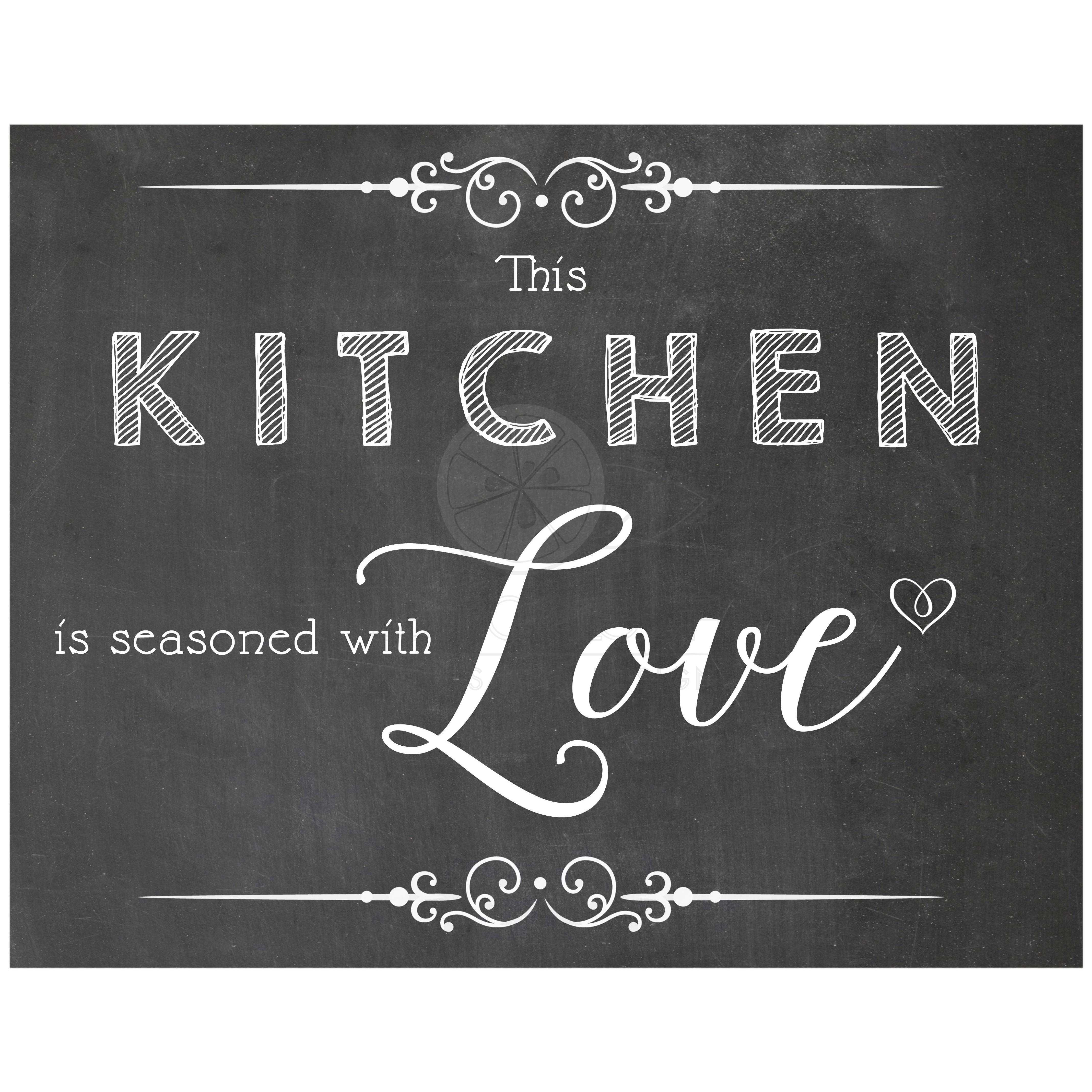 11x14 This Kitchen Is Seasoned With Love Chalkboard