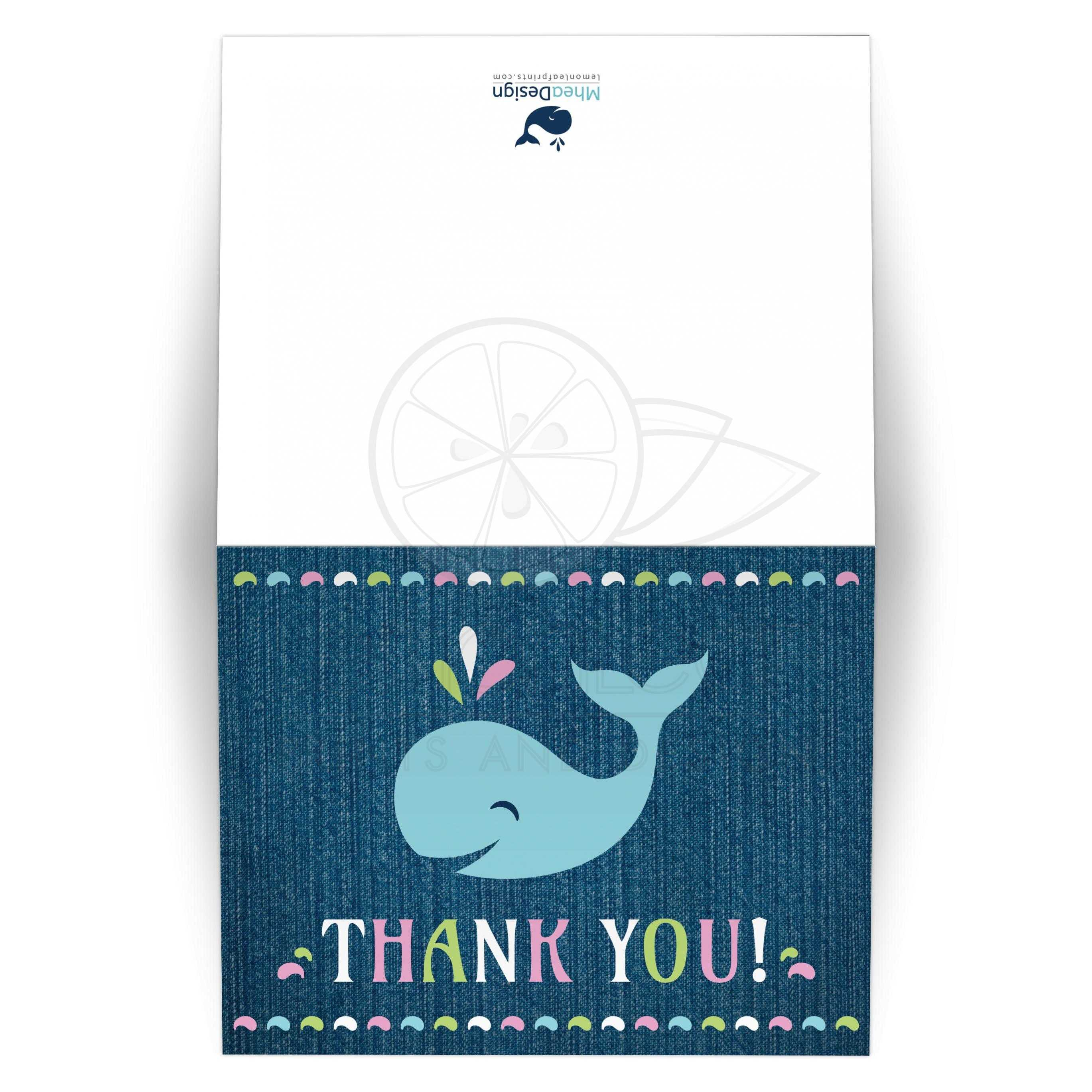 Cute whale on dark blue denim thank you card | Under the sea theme