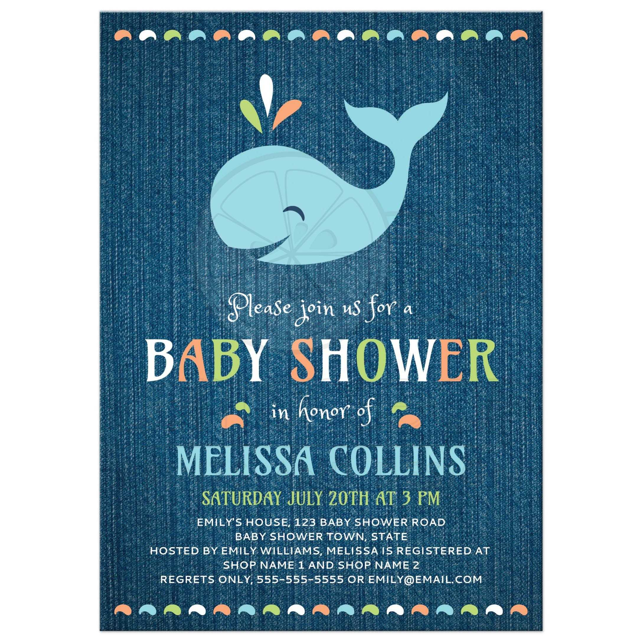 Whale on blue denim cute baby shower invitation Under the sea theme