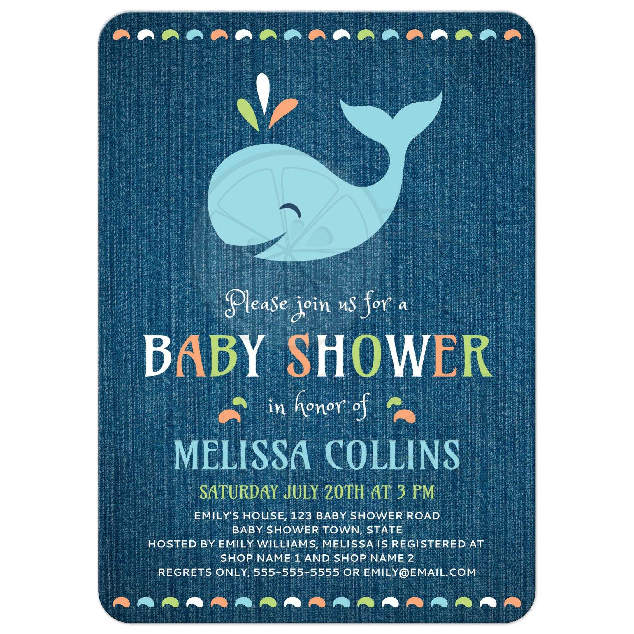 baby kids new baby baby shower whale on blue denim cute baby