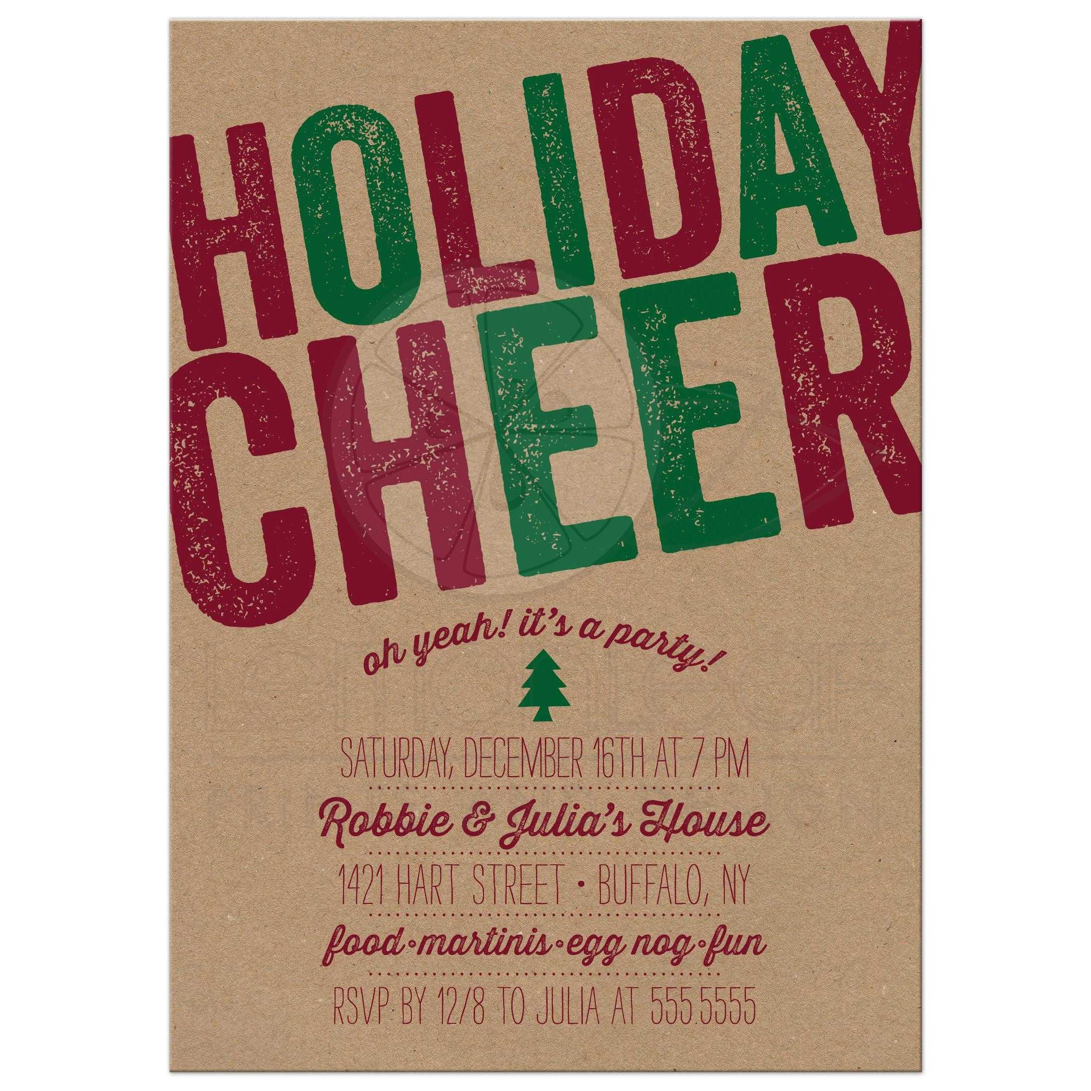 Holiday Party Invitations Rustic Holiday Cheer