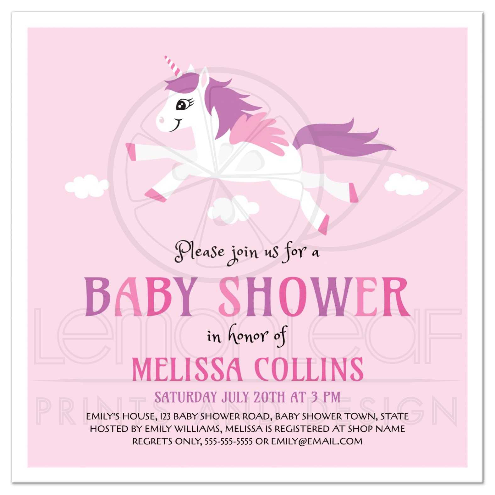 Cute unicorn baby shower invitation pink and purple for girls cute pink baby shower invitation for girl showers with unicorn cartoon illustration filmwisefo