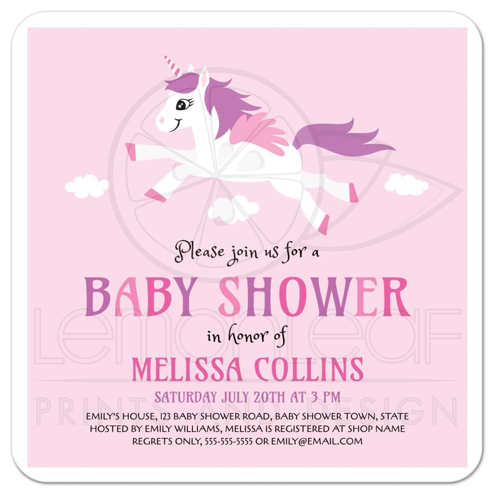 Cute unicorn baby shower invitation, pink and purple for girls