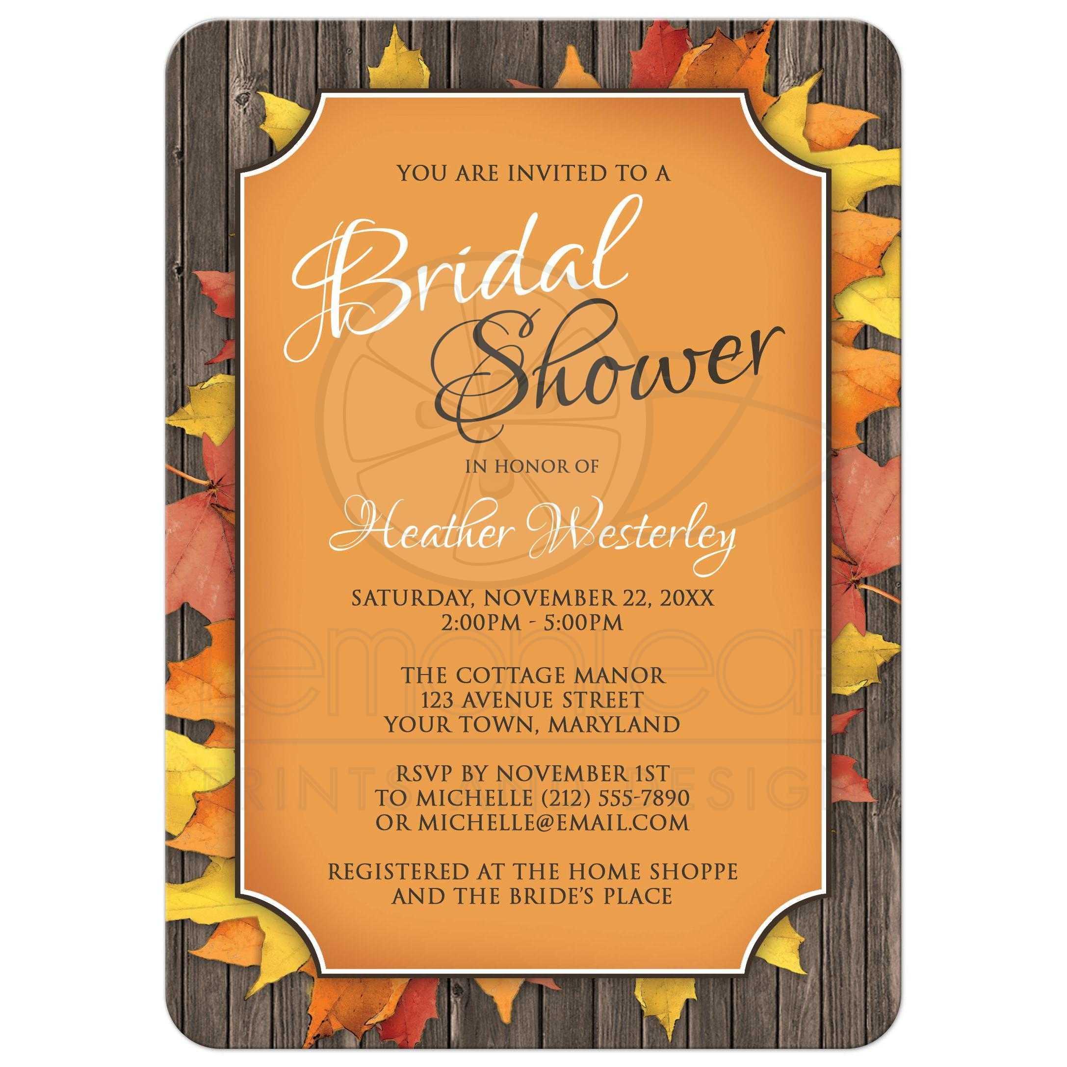 Bridal shower invitations autumn orange wood leaves filmwisefo