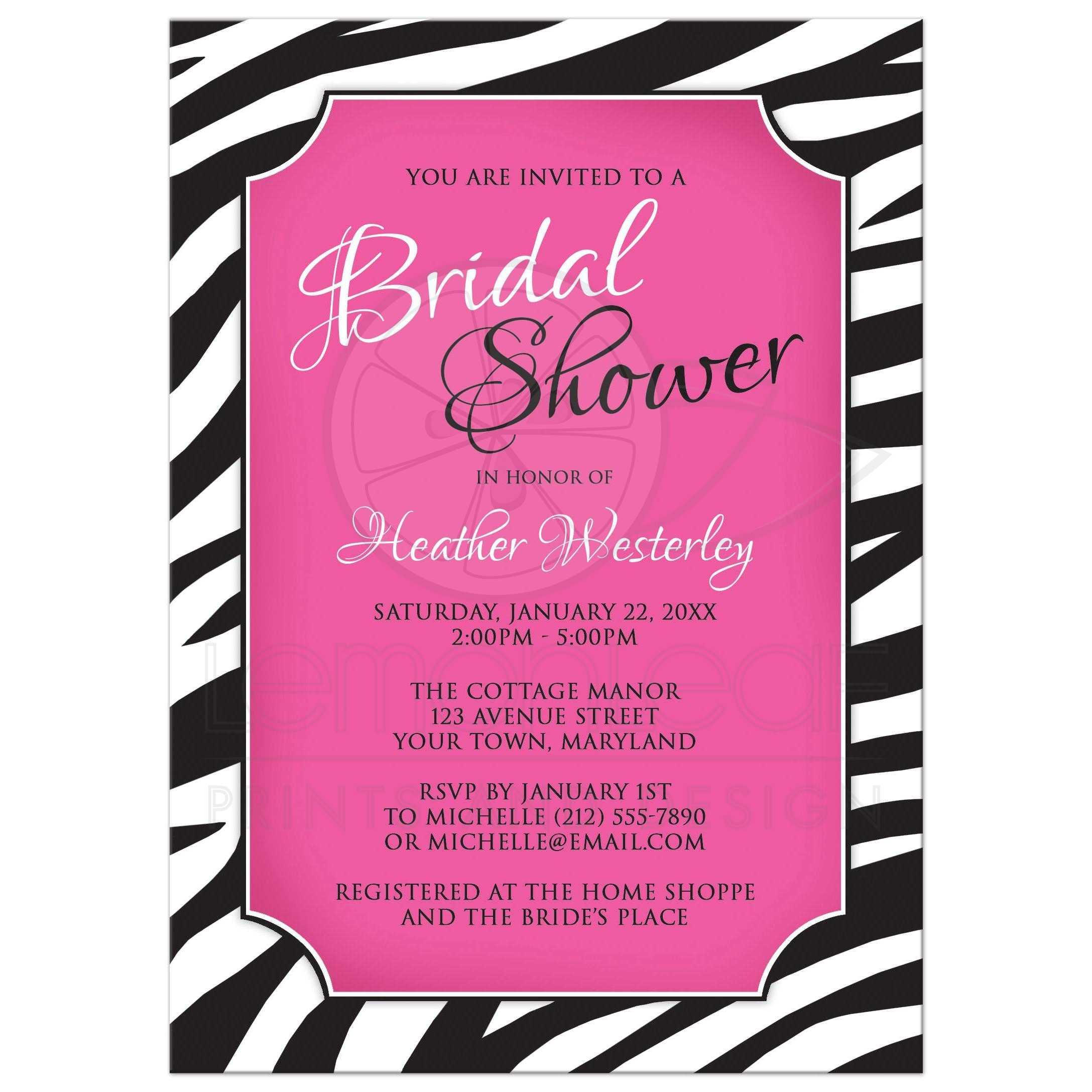 Bridal shower invitations chic zebra print pink filmwisefo