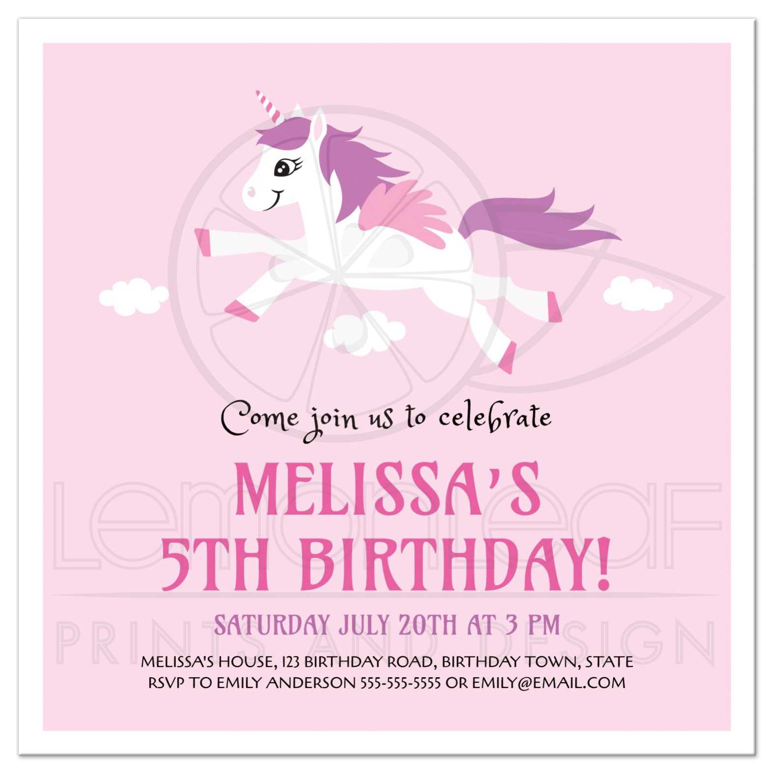 Cute unicorn birthday party invitation for girls please note that all designs on lemon leaf prints are flat printed designs all embellishments of ribbons bows flowers glitter buckles lace brooches stopboris Choice Image