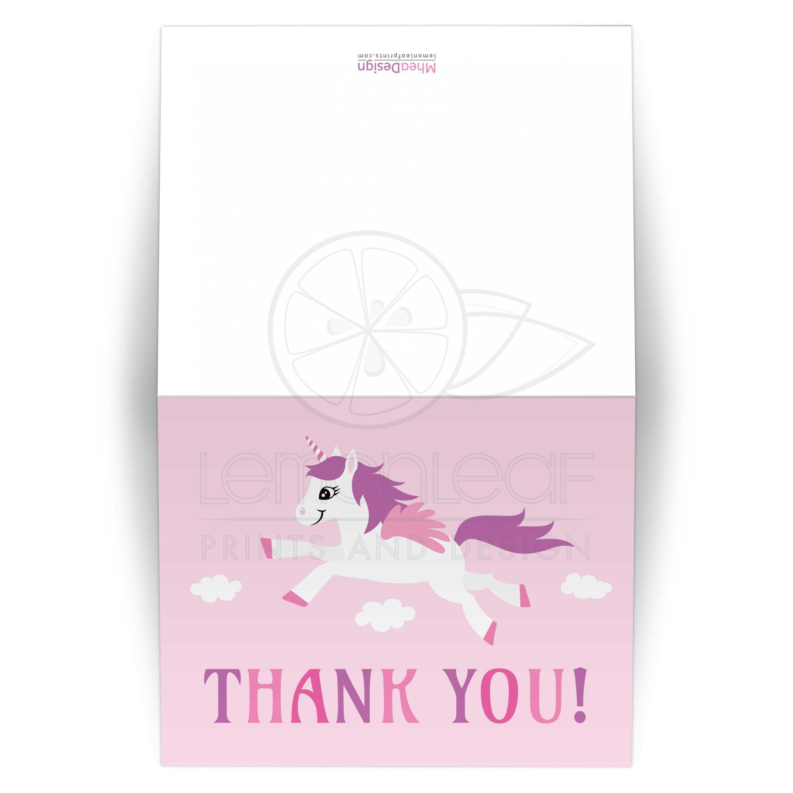 Cute unicorn thank you card in pink white and purple