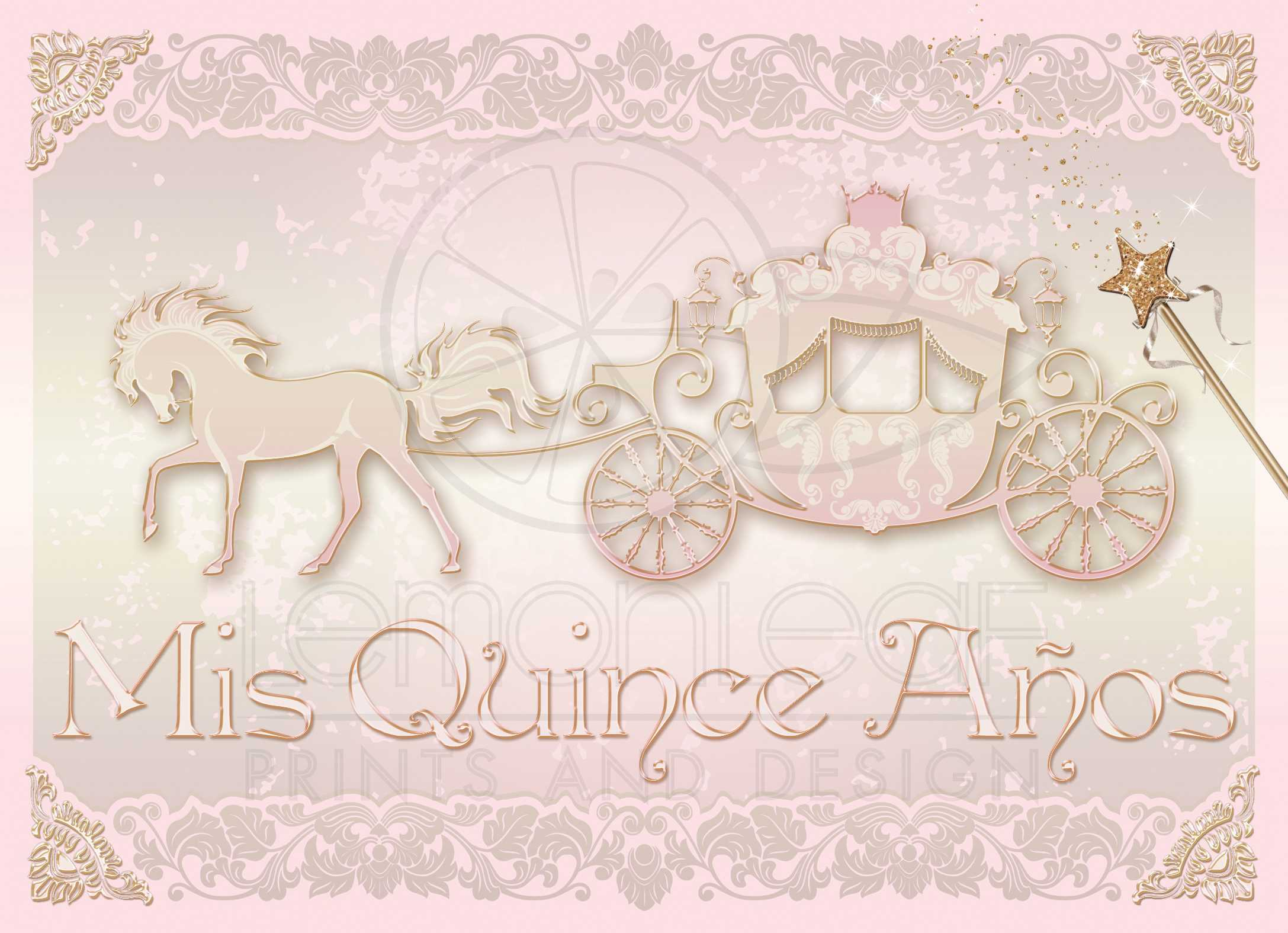 Photo Quinceanera Invite Blush Pink Gold Princess Carriage With Horse
