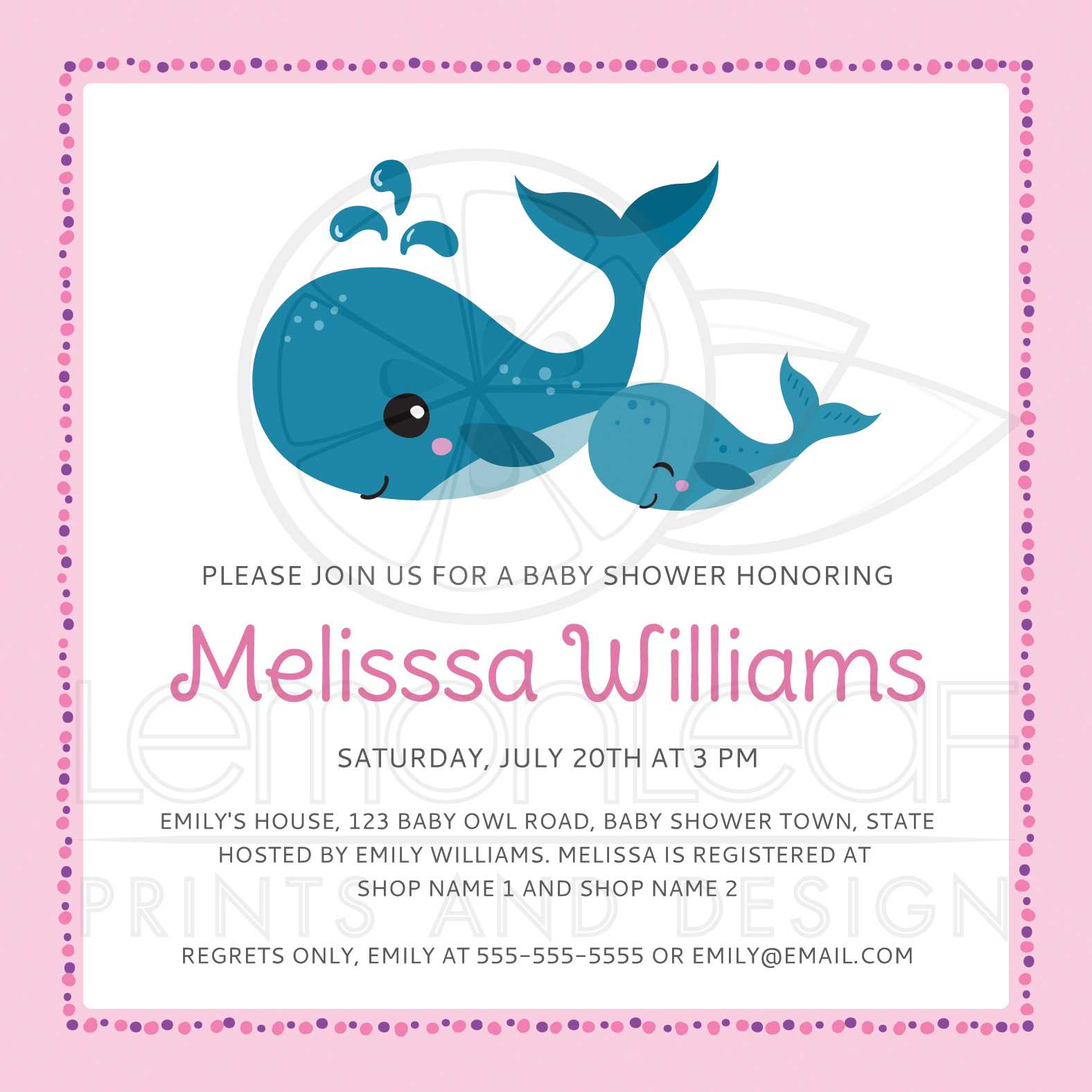 Mommy and baby whales cute pink baby shower invitation for girls mommy and baby whales cute pink baby shower invitation for girls under the sea theme filmwisefo