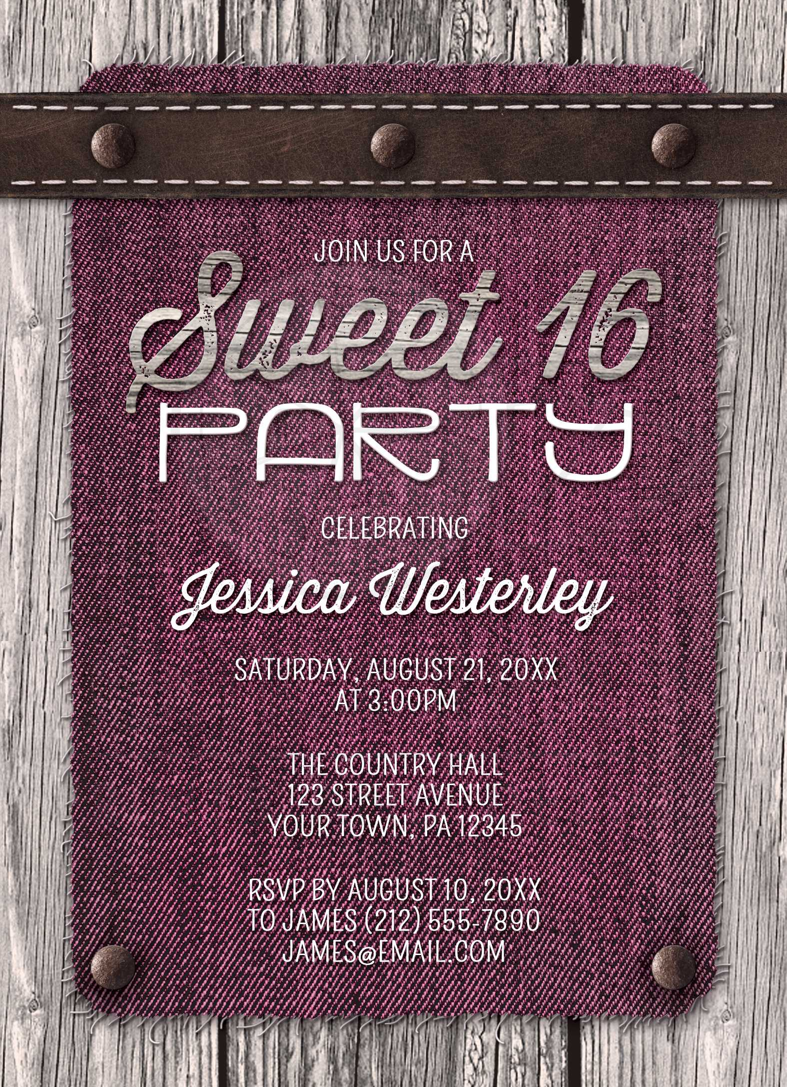 sweet 16 party invitations pink denim wood leather rustic