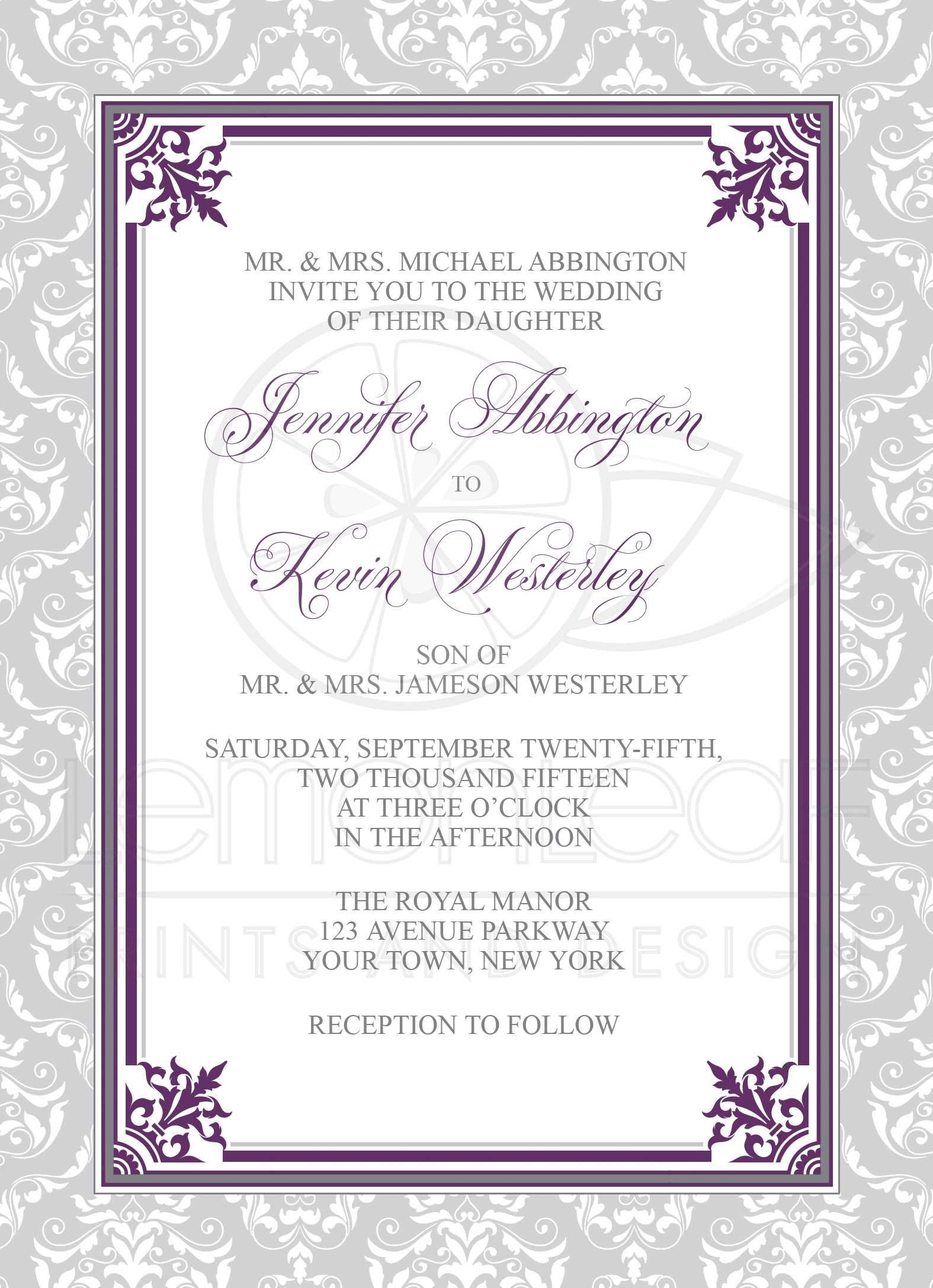 wedding invitations plum purple and gray elegant damask - Damask Wedding Invitations