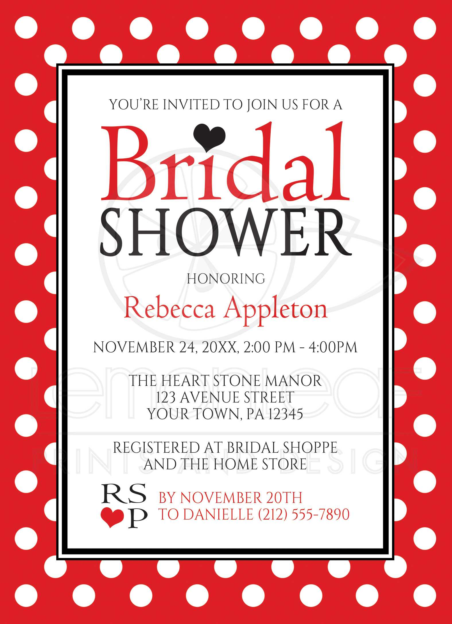 bridal shower invitations polka dot red and white
