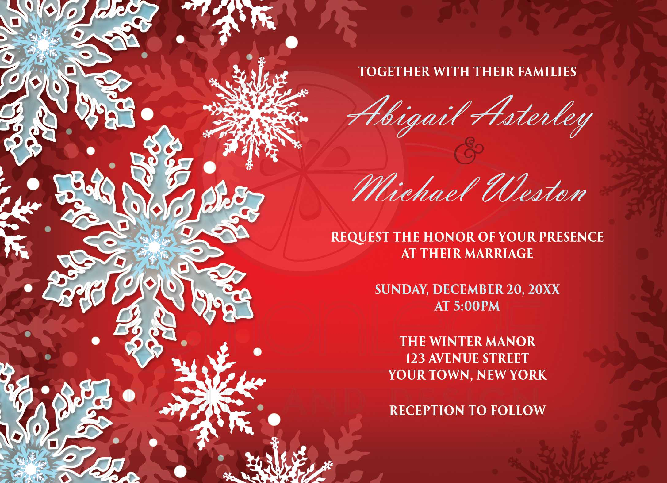 Wedding Invitations - Royal Red White Blue Snowflake