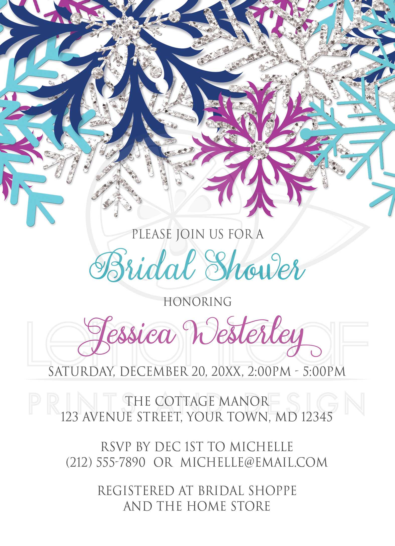 bridal shower invitations turquoise navy orchid silver snowflake