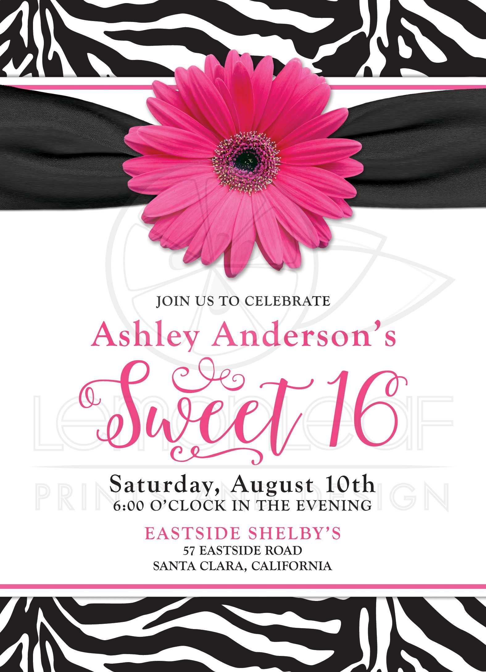 Chic Sweet 16 Birthday Invitation | Hot Pink Daisy Black White Zebra ...