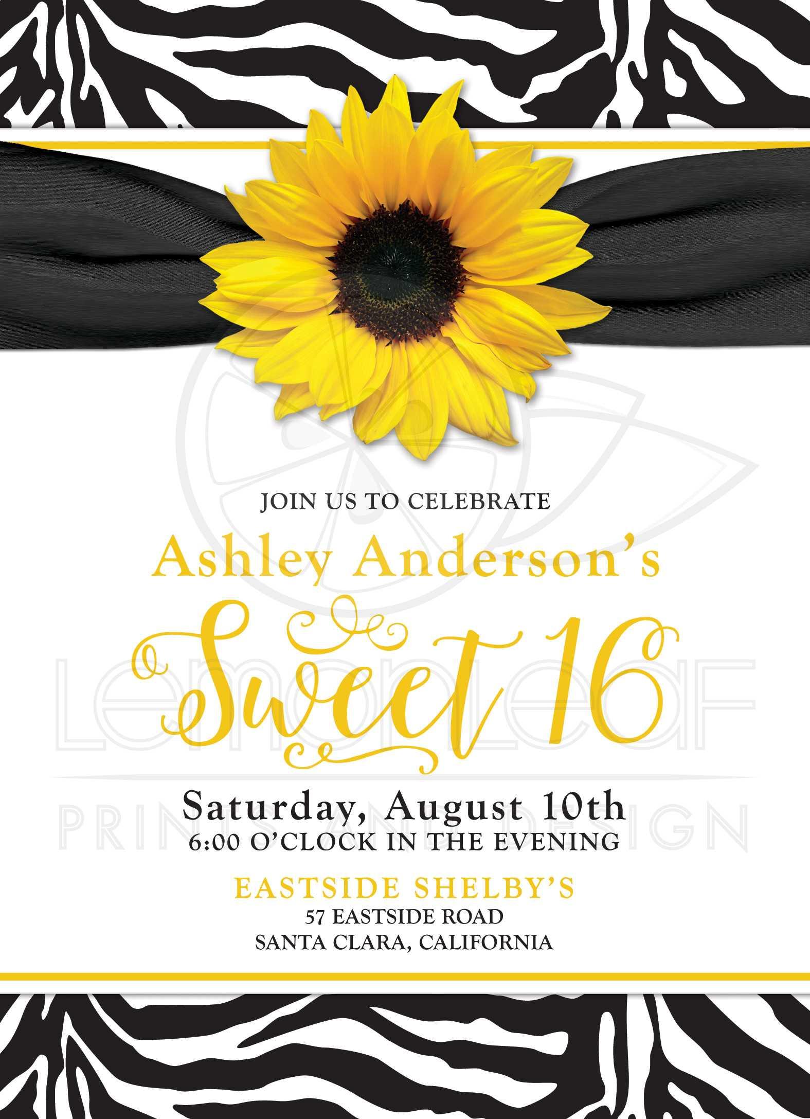 Chic Sweet 16 Birthday Invitation | Yellow Sunflower Black White ...