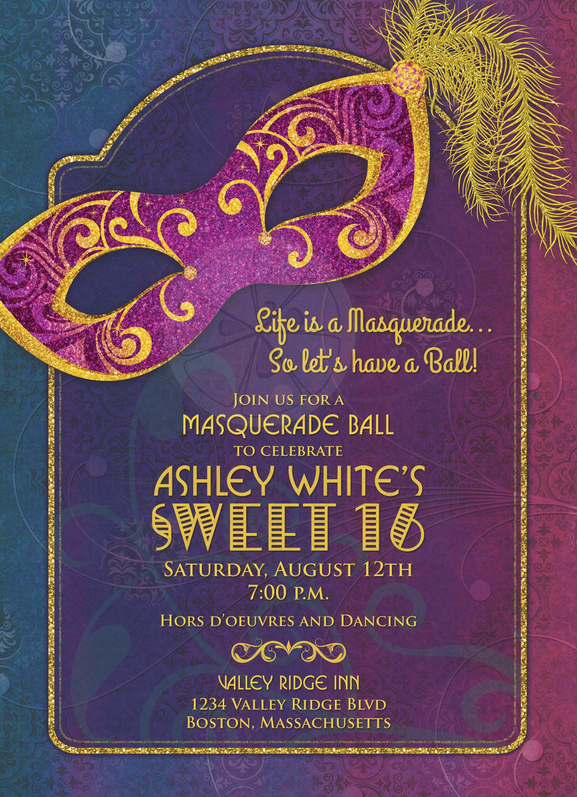 Masquerade Ball Sweet 16 Invitation – Sweet 16 Birthday Invitations
