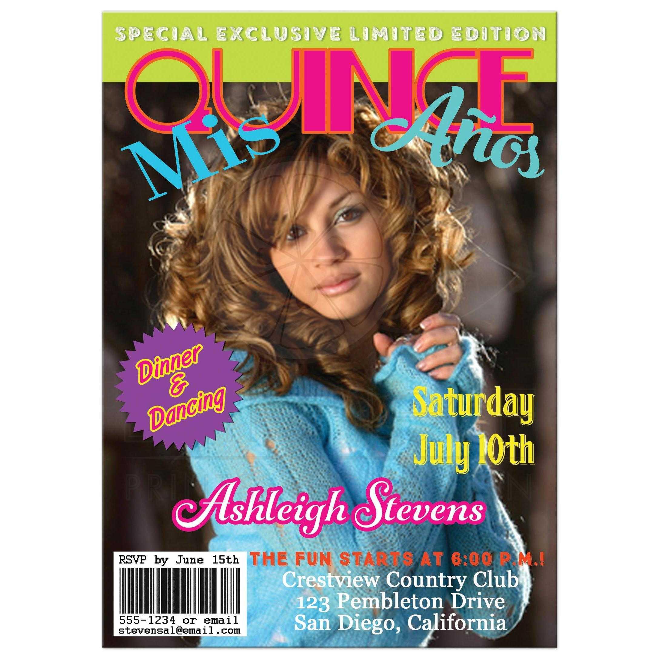 Quinceañera PHOTO Birthday Invitation | Magazine Cover Style