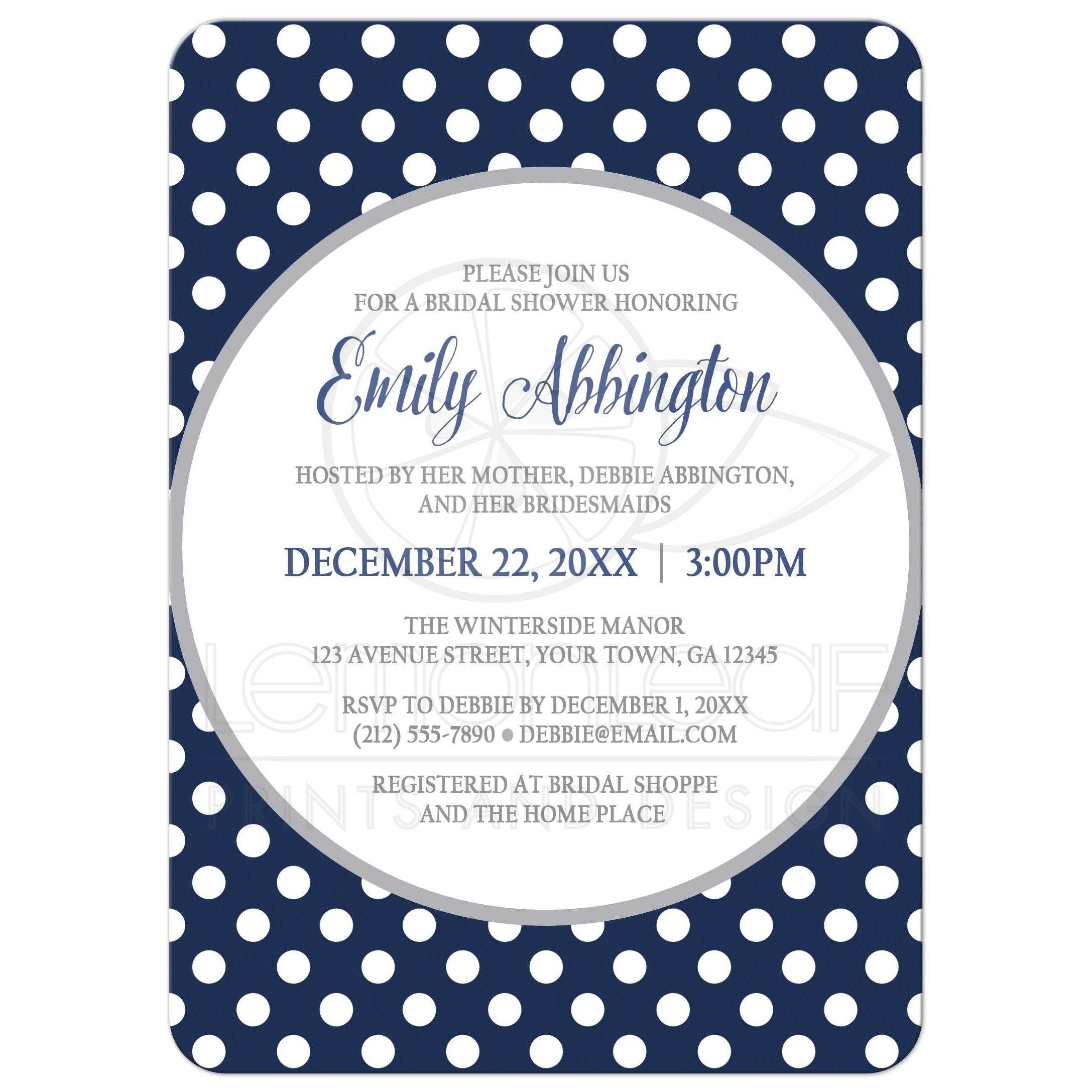 bridal shower invitations gray navy blue polka dot