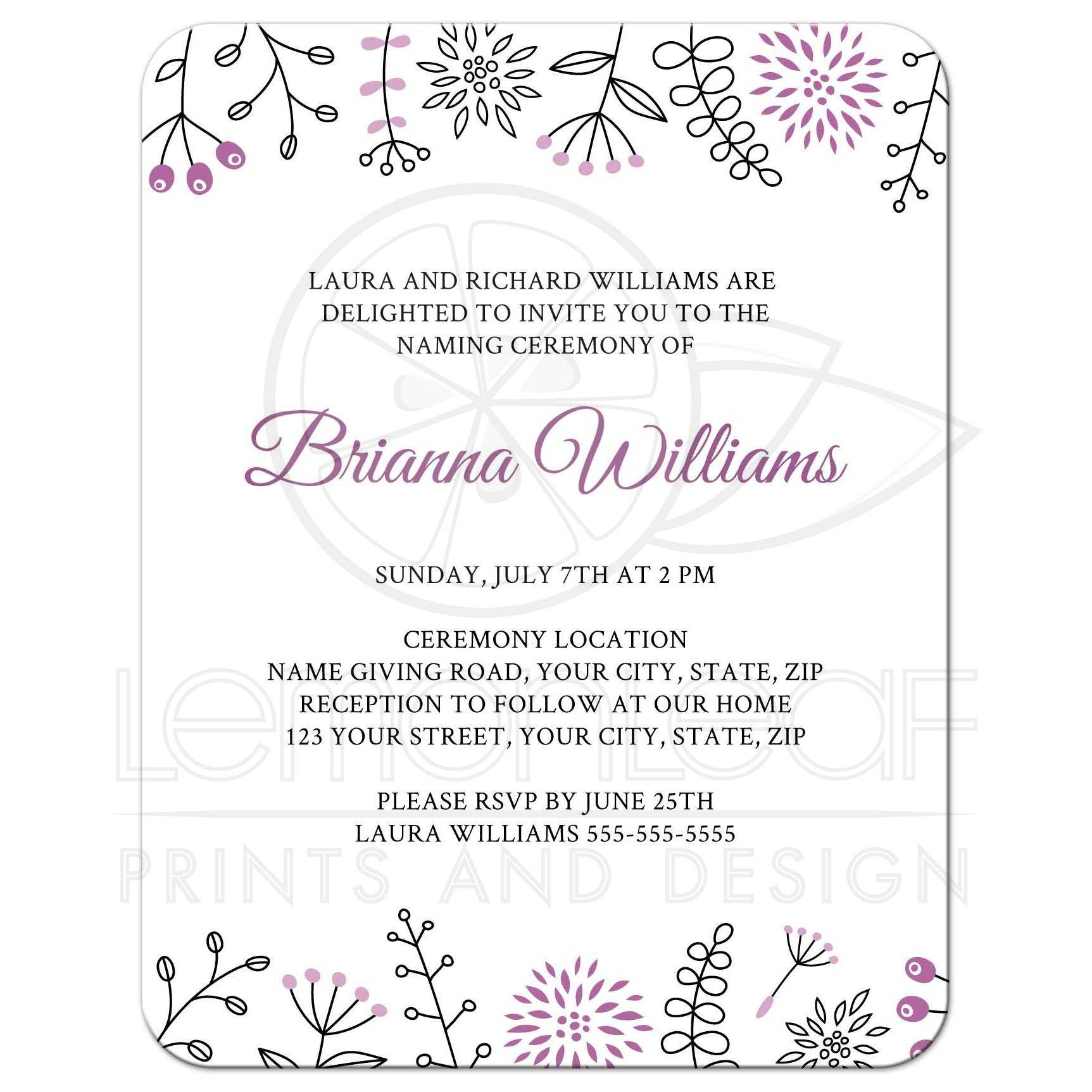 Naming/name giving ceremony invitation with cute and modern floral ...