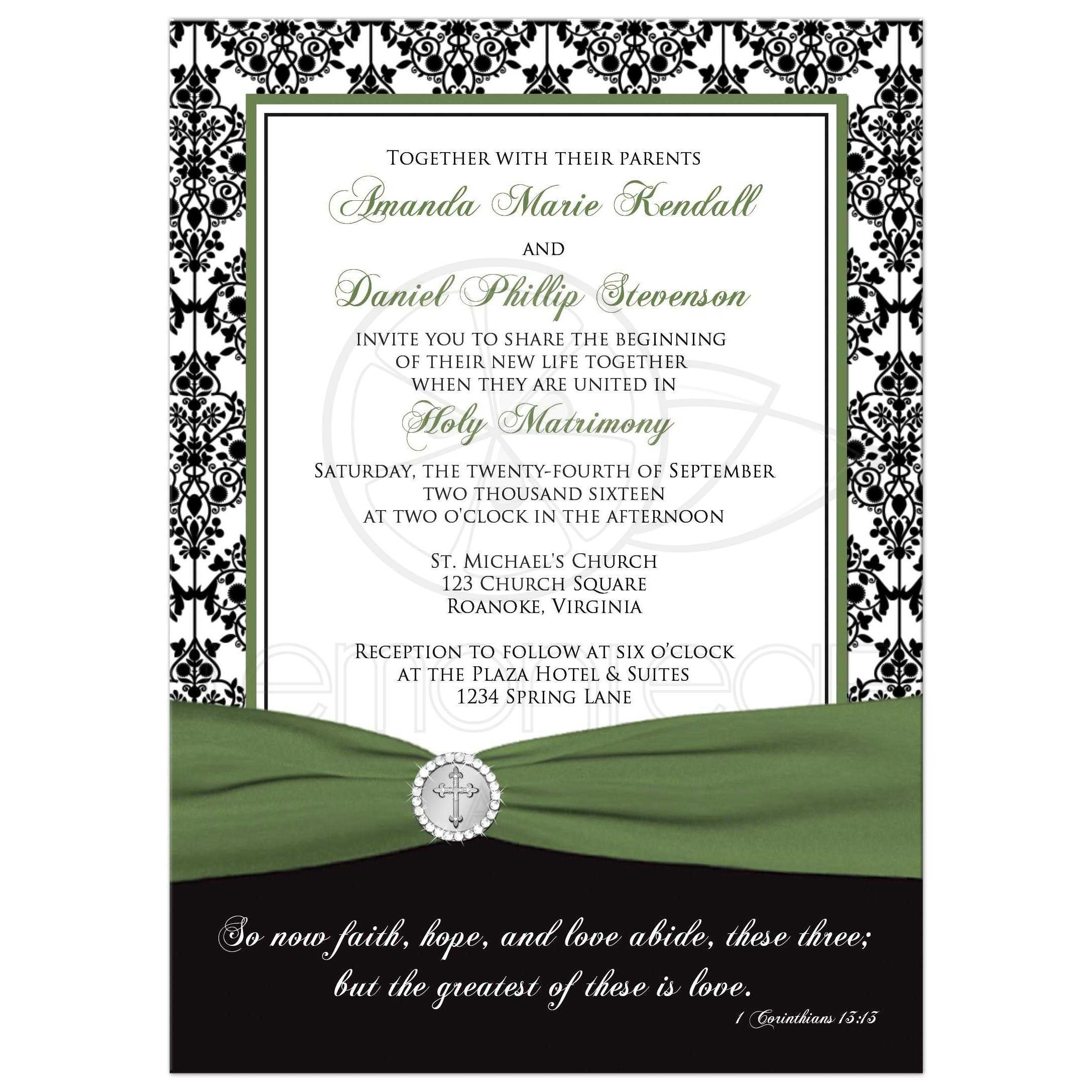 Christian Wedding Invitation | Black, White Damask | Printed Clover ...