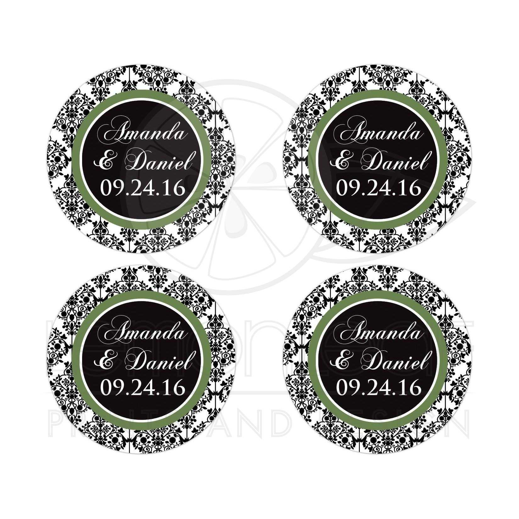 Personalized round wedding favor save the date sticker envelope seal in black and white damask with