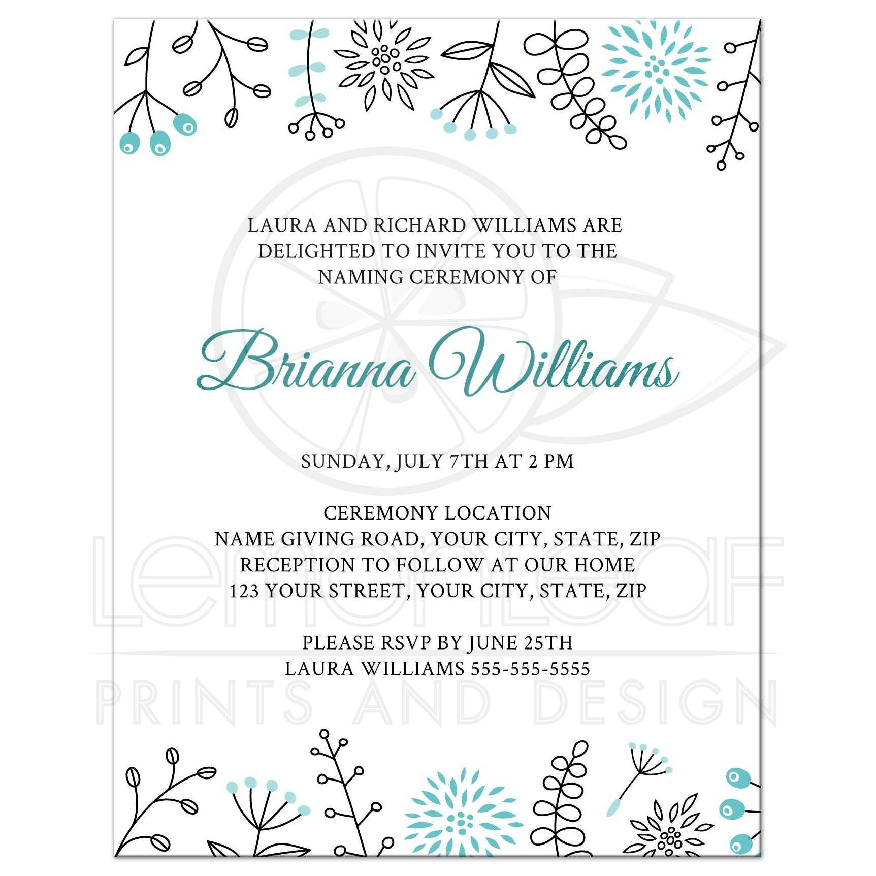 Cute Naming Name Giving Ceremony Invitation With Flower