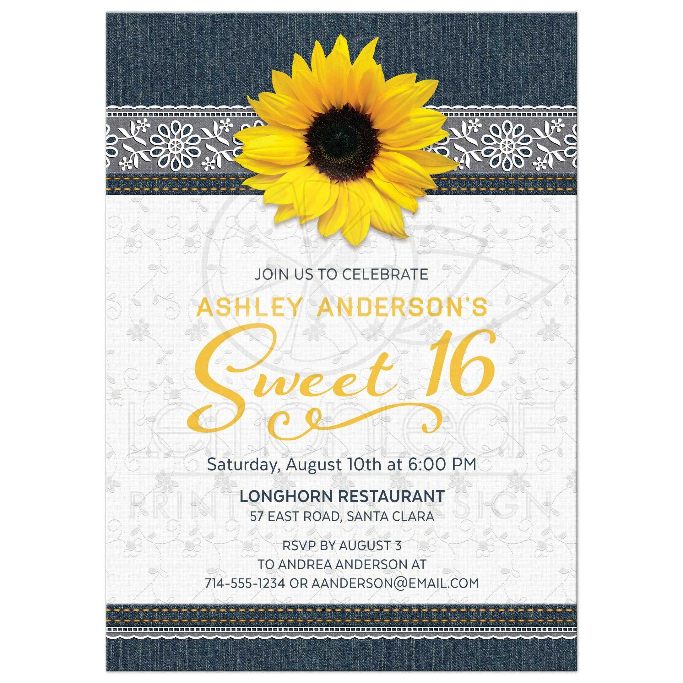 Sunflower Sweet 16 Invitation | Denim Lace Country Style