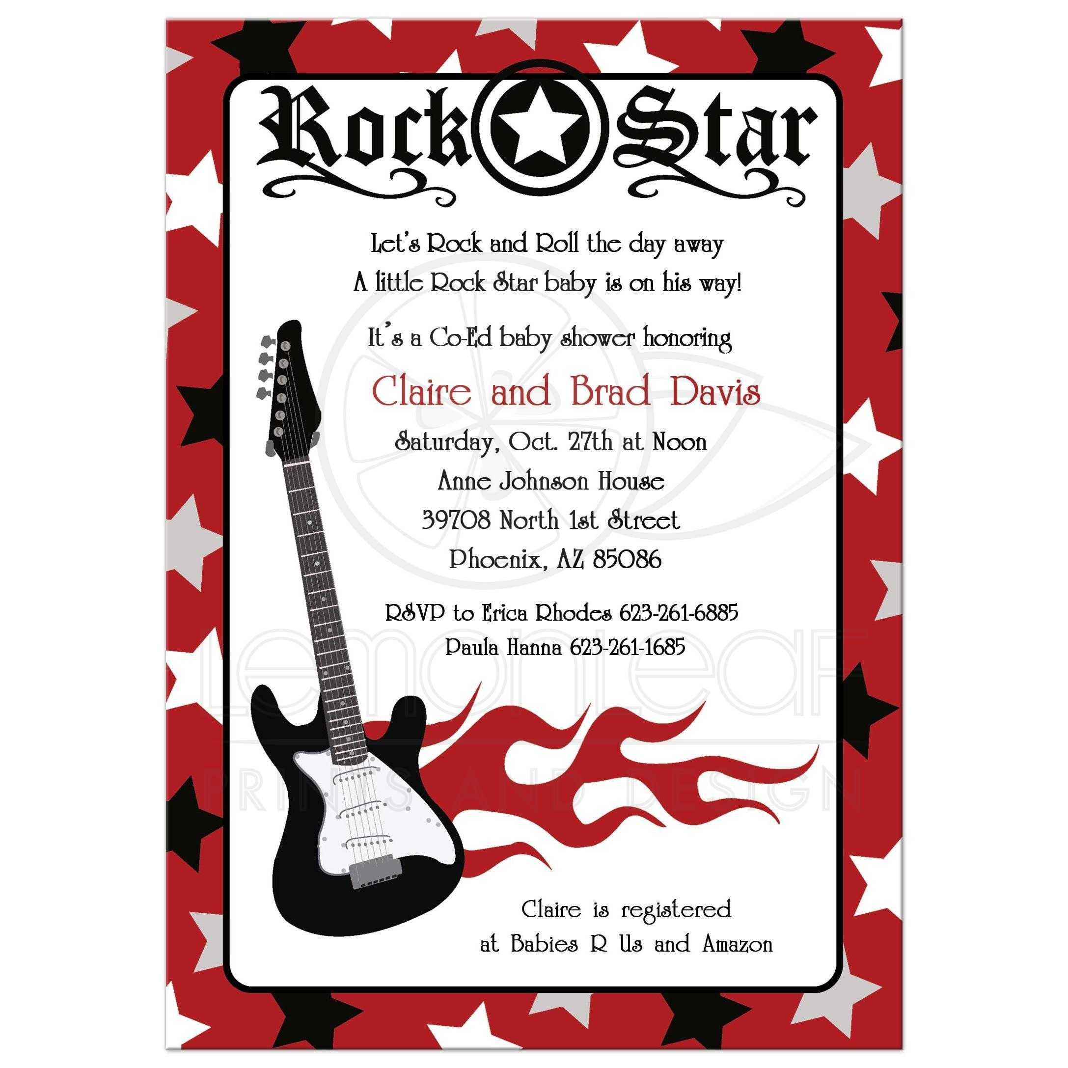 Red Rock Star Guitar Musician Rocker Baby Shower Invitations