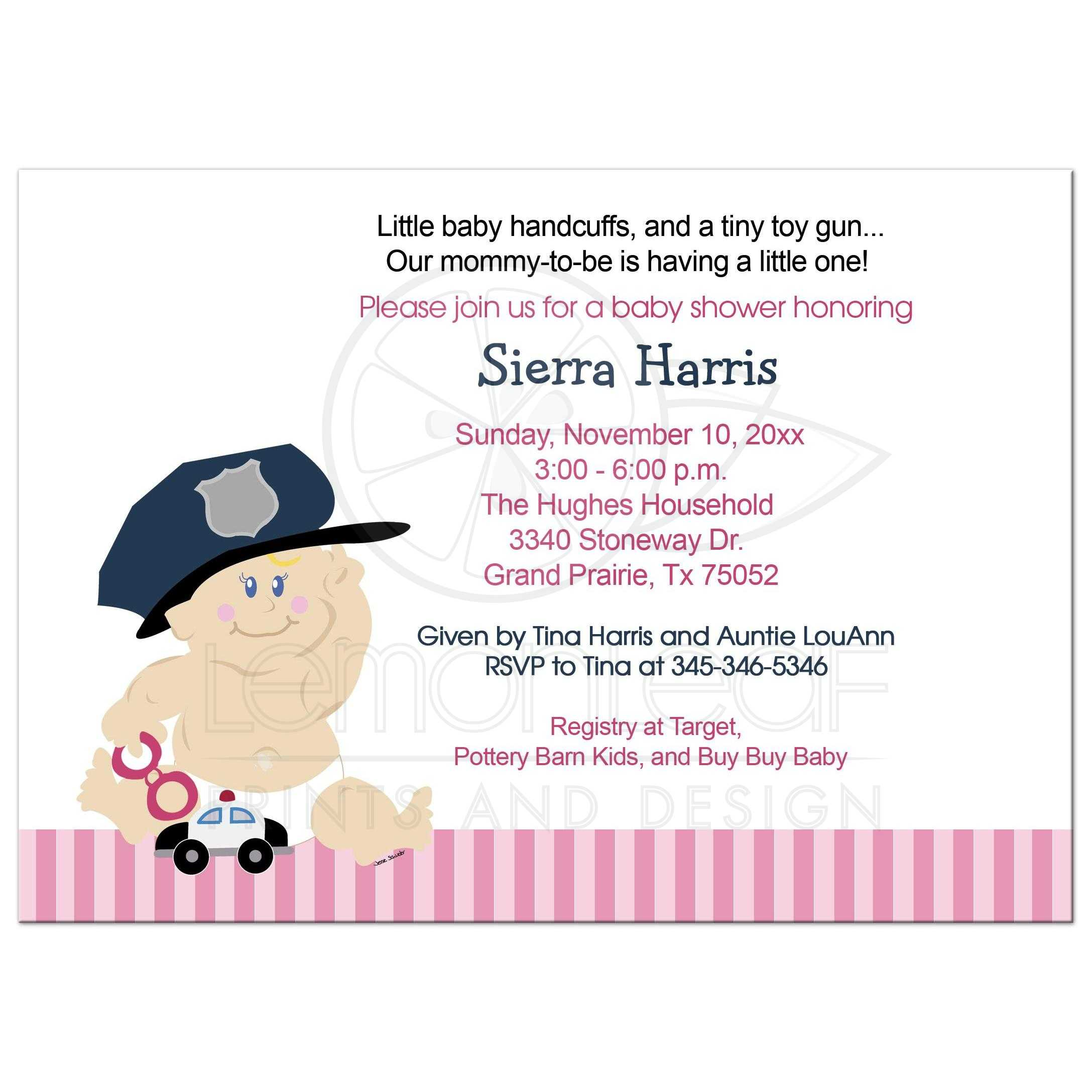 Baby Cop Police Officer Baby Shower Invitation / Baby Girl